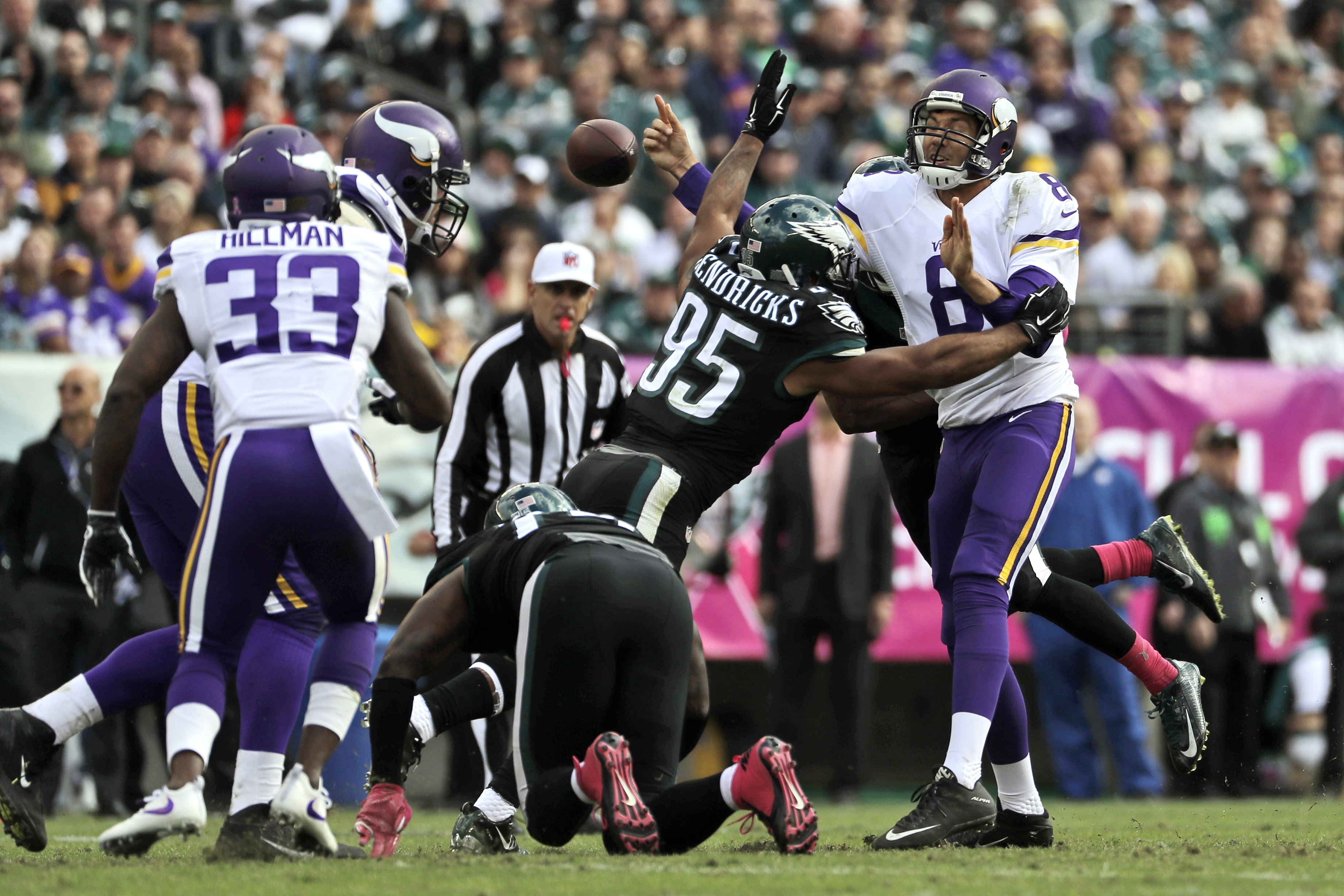 Minnesota Vikings' Sam Bradford, right, fumbles the football as Philadelphia Eagles' Mychal Kendricks tackles during the first half of an NFL football game, Sunday, Oct. 23, 2016, in Philadelphia. (AP Photo/Michael Perez)