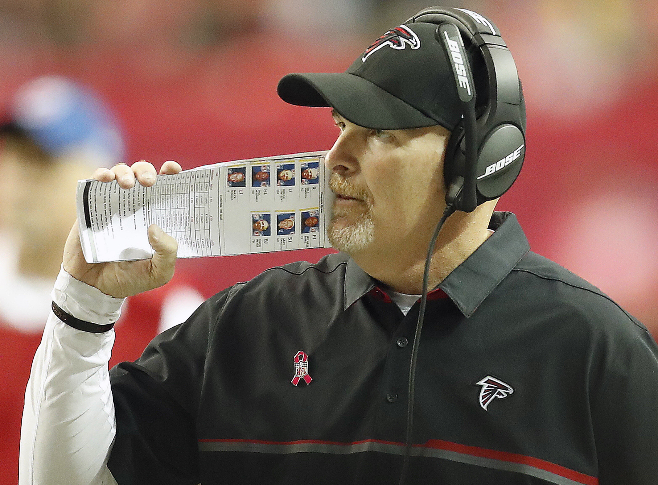 Atlanta Falcons head coach Dan Quinn walks the sidelines against the San Diego Chargers during the second half of an NFL football game, Sunday, Oct. 23, 2016, in Atlanta. (AP Photo/John Bazemore)