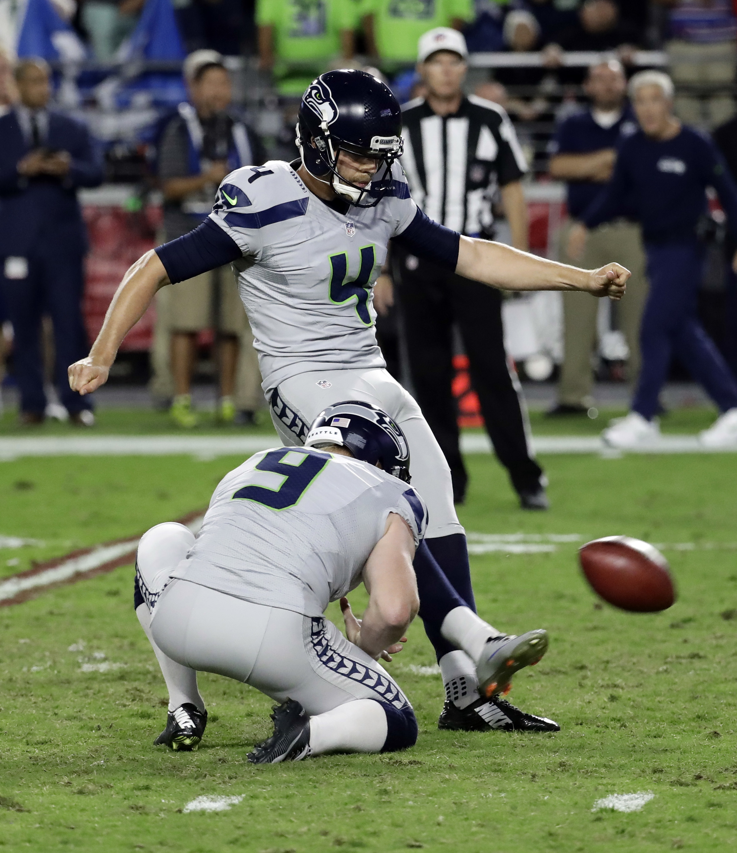 Seattle Seahawks kicker Stephen Hauschka (4) misses a game-winning field goal attempt as punter Jon Ryan (9) holds during overtime of an NFL football game against the Arizona Cardinals, Sunday, Oct. 23, 2016, in Glendale, Ariz. The game ended in overtime