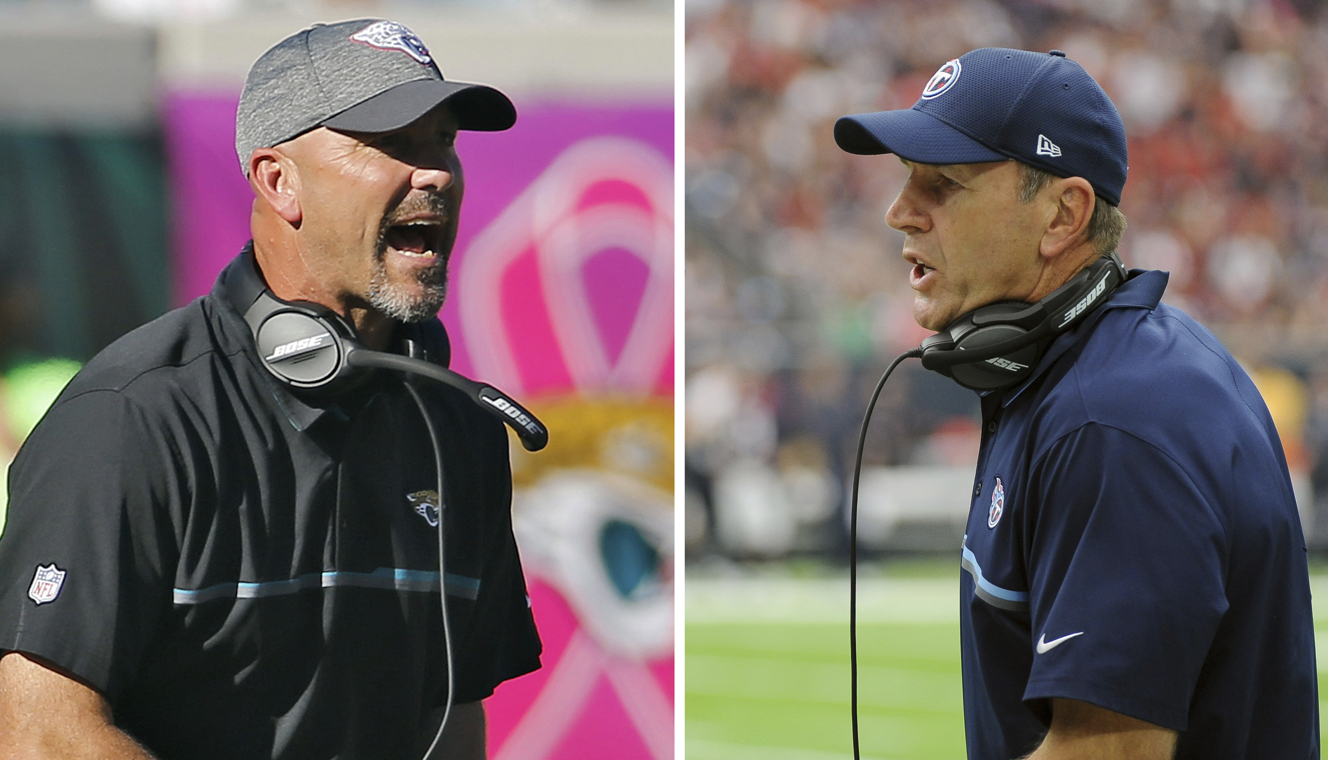 FILE - At left, in an Oct. 23, 2016, file photo, Jacksonville Jaguars head coach Gus Bradley shouts during the fourth quarter of an NFL football game, in Jacksonville, Fla. At right, in an Oct. 2, 2016, file photo, Tennessee Titans head coach Mike Mularke