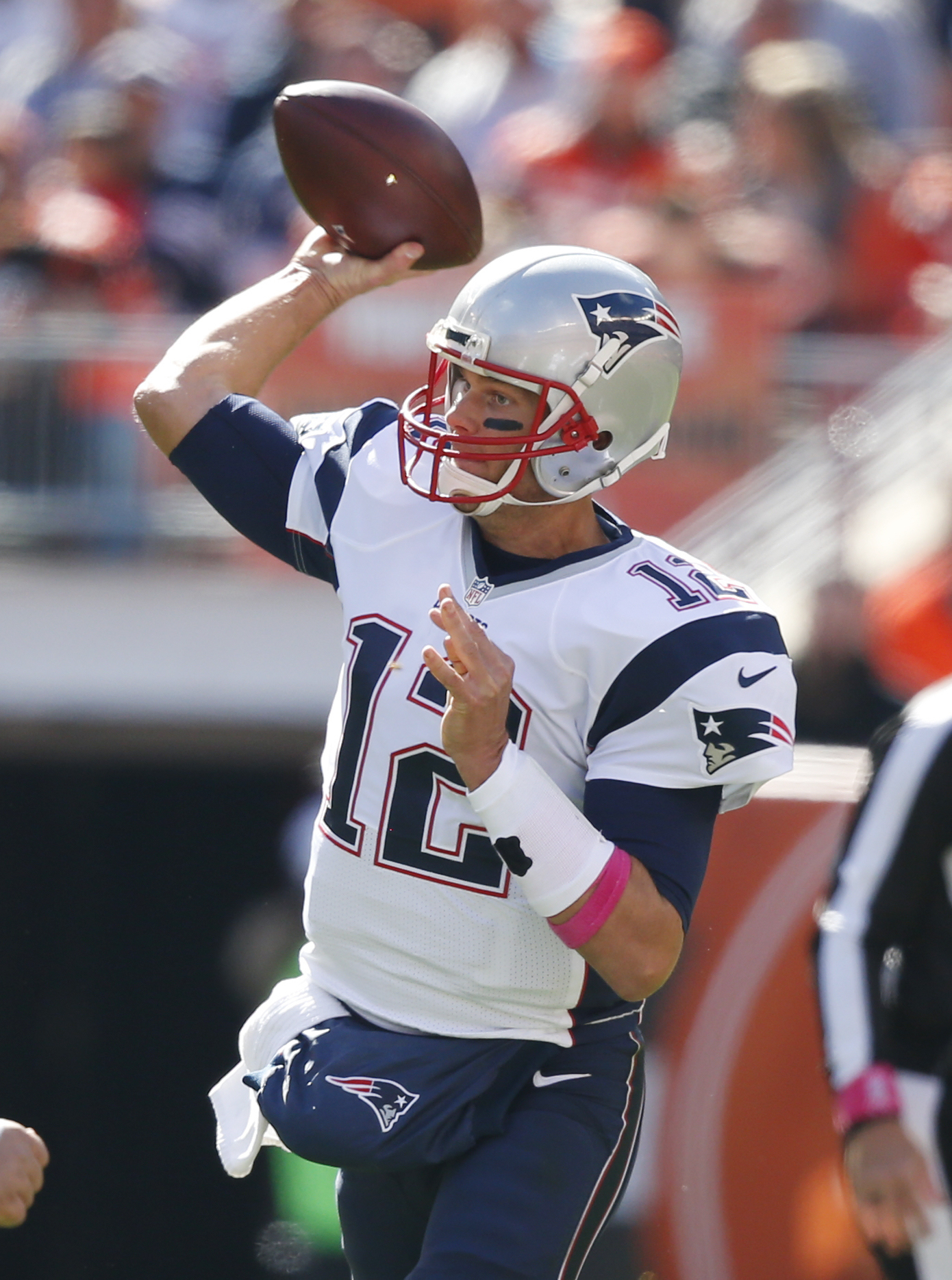 FILE - In this Oct. 9, 2016, file photo, New England Patriots' Tom Brady throws against the Cleveland Browns during the first half of an NFL football game in Cleveland. In three wins, Brady is 76 of 101 for 1,004 yards with eight touchdowns, no intercepti