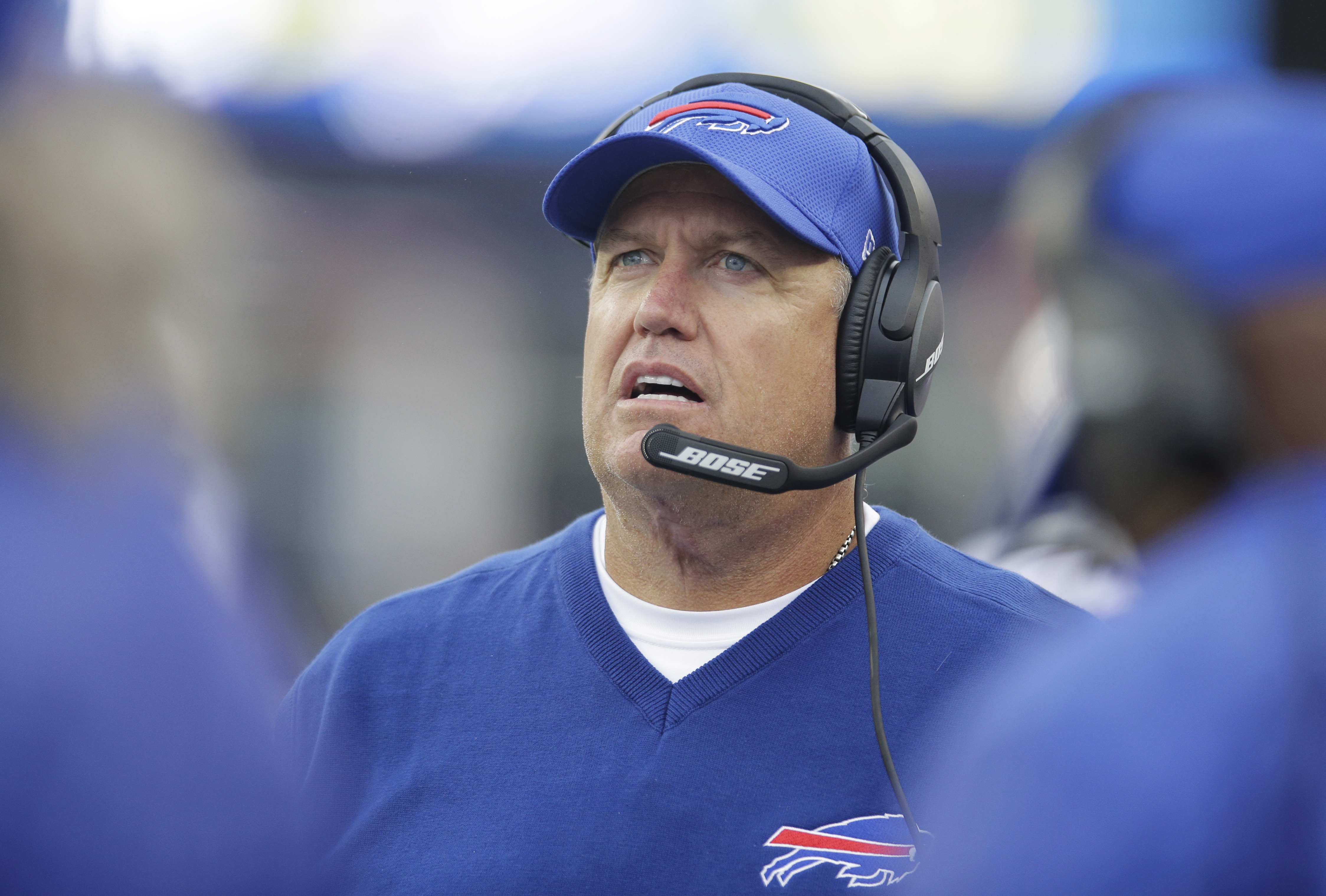 FILE - In this Oct. 2, 2016, file photo, Buffalo Bills head coach Rex Ryan on the sidelines during the second half of an NFL football game against the New England Patriots in Foxborough, Mass. Ryan likes nothing better than beating the Patriots. (AP Photo