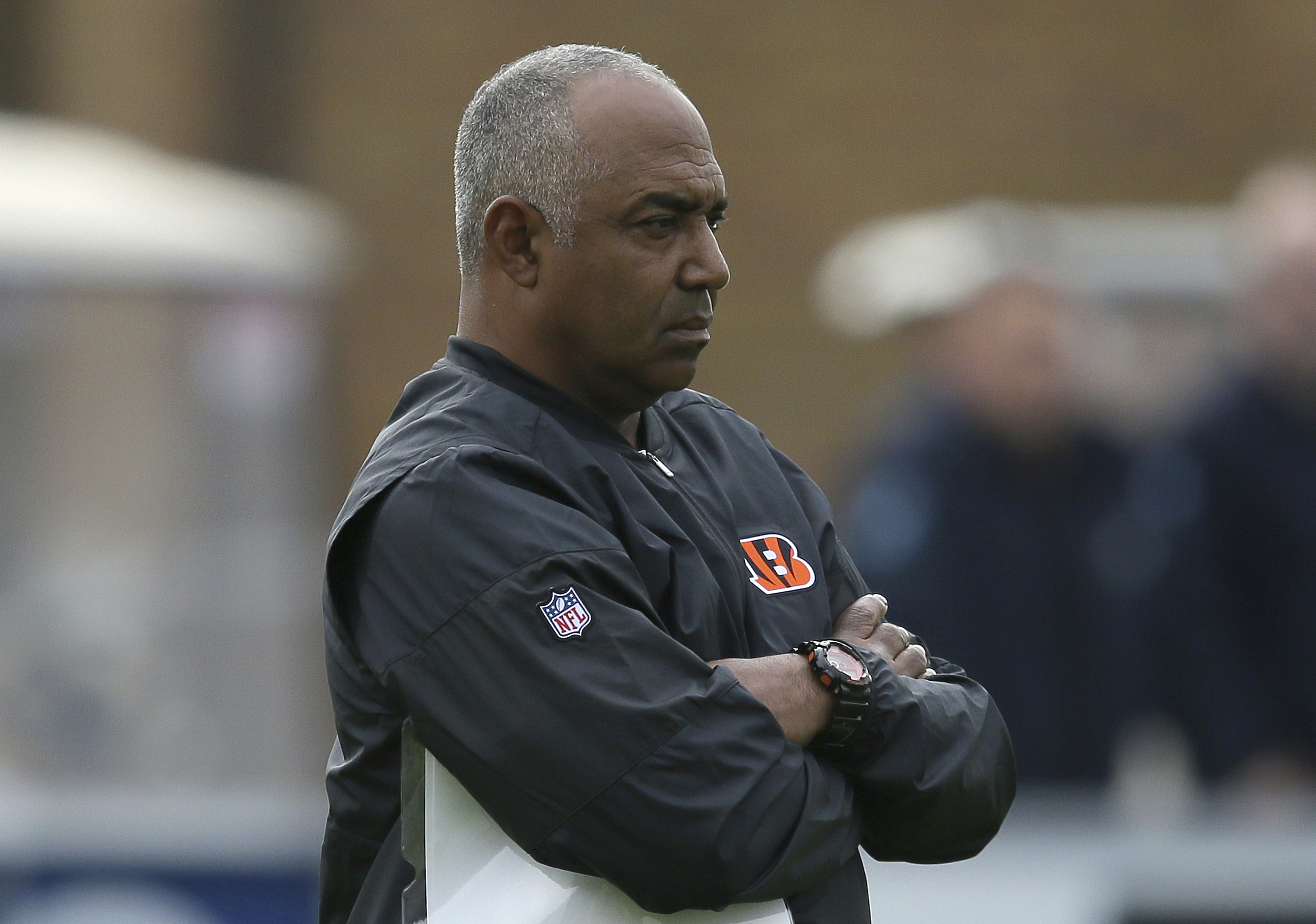 Cincinnati Bengals head coach Marvin Lewis looks across the field during a practice session at Allianz Park in London, England, Friday Oct. 28, 2016. The Washington Redskins are due to play the Cincinnati Bengals at Wembley Stadium in London on Sunday in
