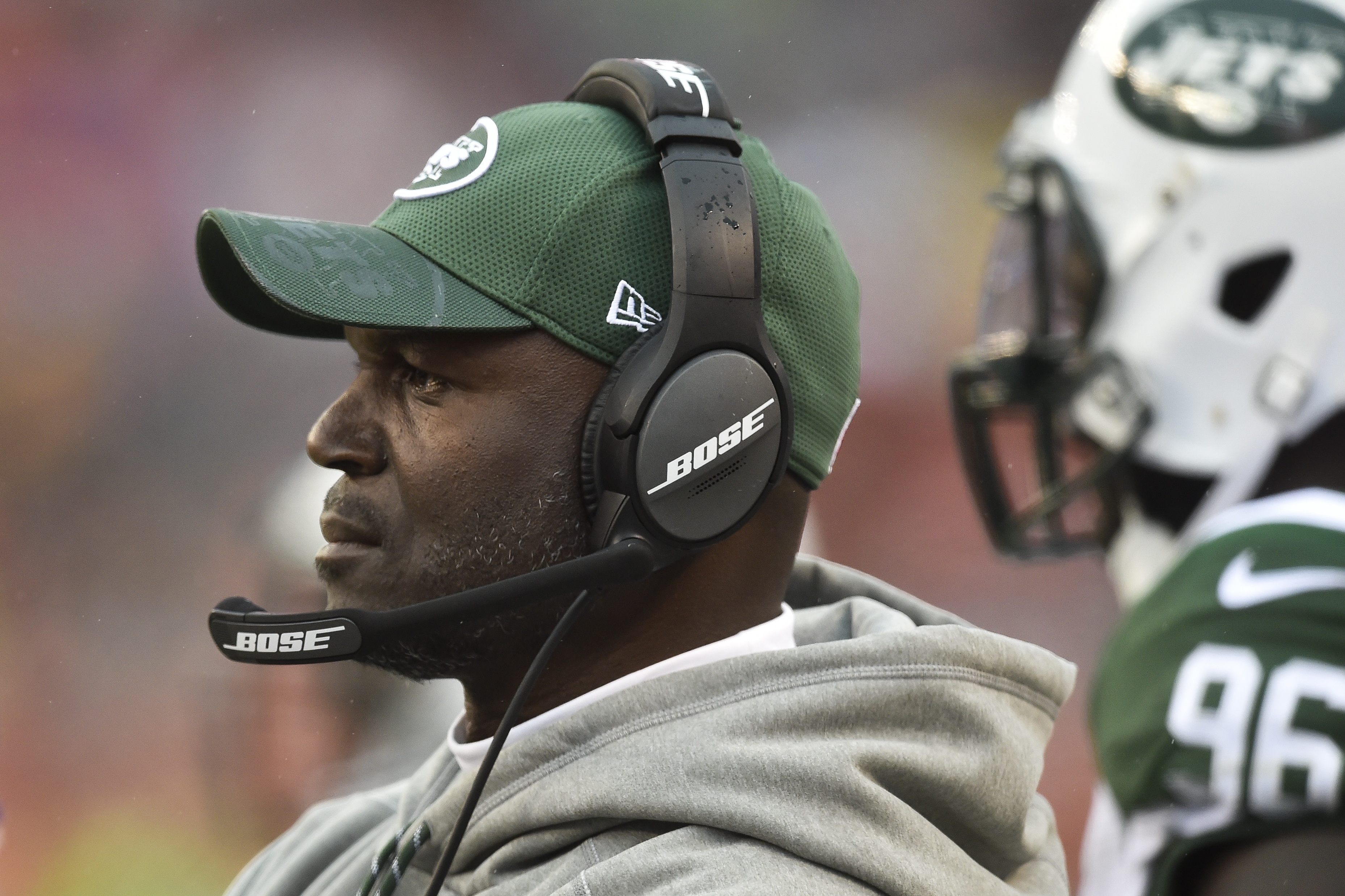 New York Jets head coach Todd Bowles works the sideline in the first half of an NFL football game against the Cleveland Browns, Sunday, Oct. 30, 2016, in Cleveland. (AP Photo/David Richard)