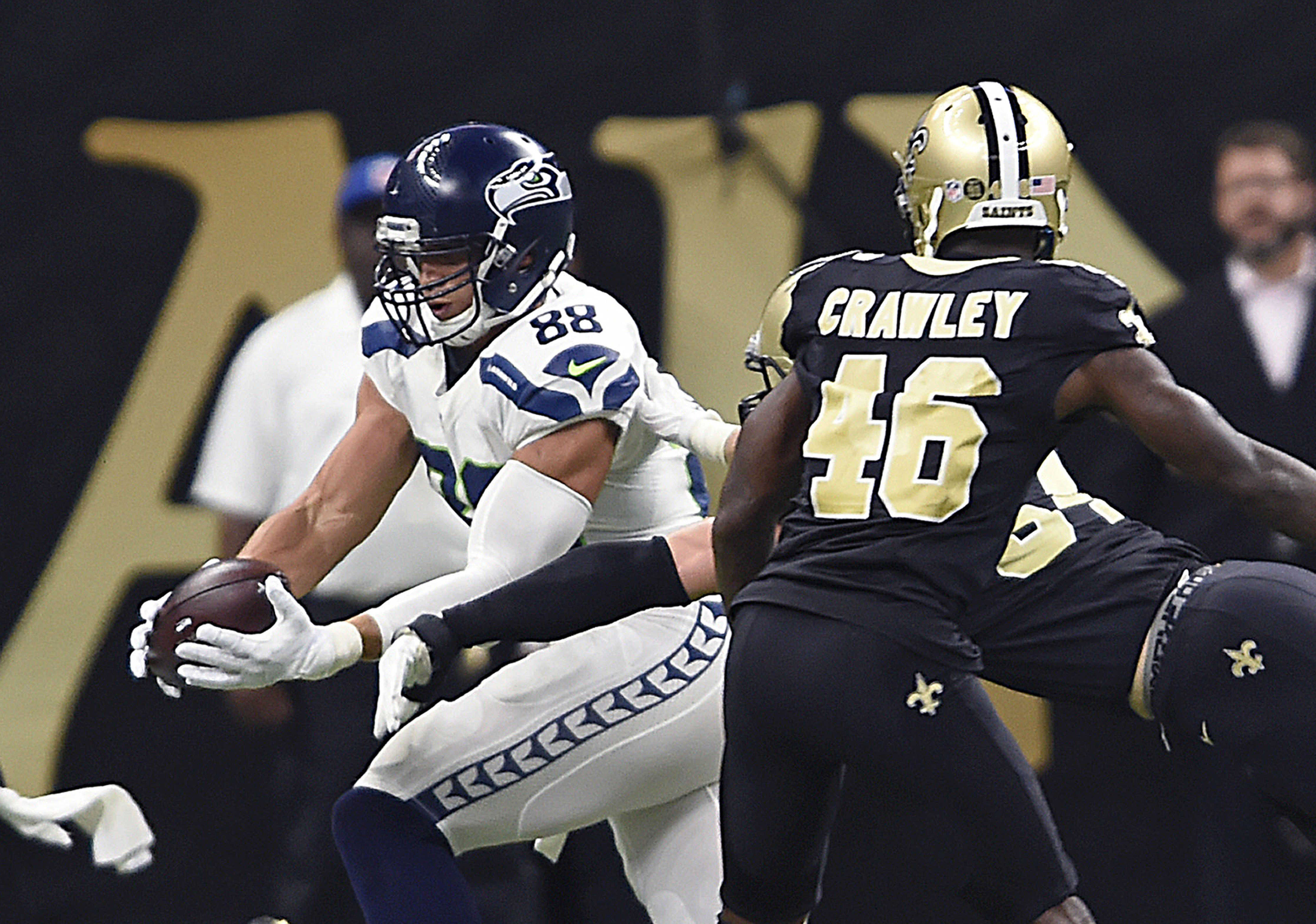 Seattle Seahawks tight end Jimmy Graham (88) pulls in a pass in the second half of an NFL football game against the New Orleans Saints in New Orleans, Sunday, Oct. 30, 2016. The Saints won 25-20. (AP Photo/Bill Feig)