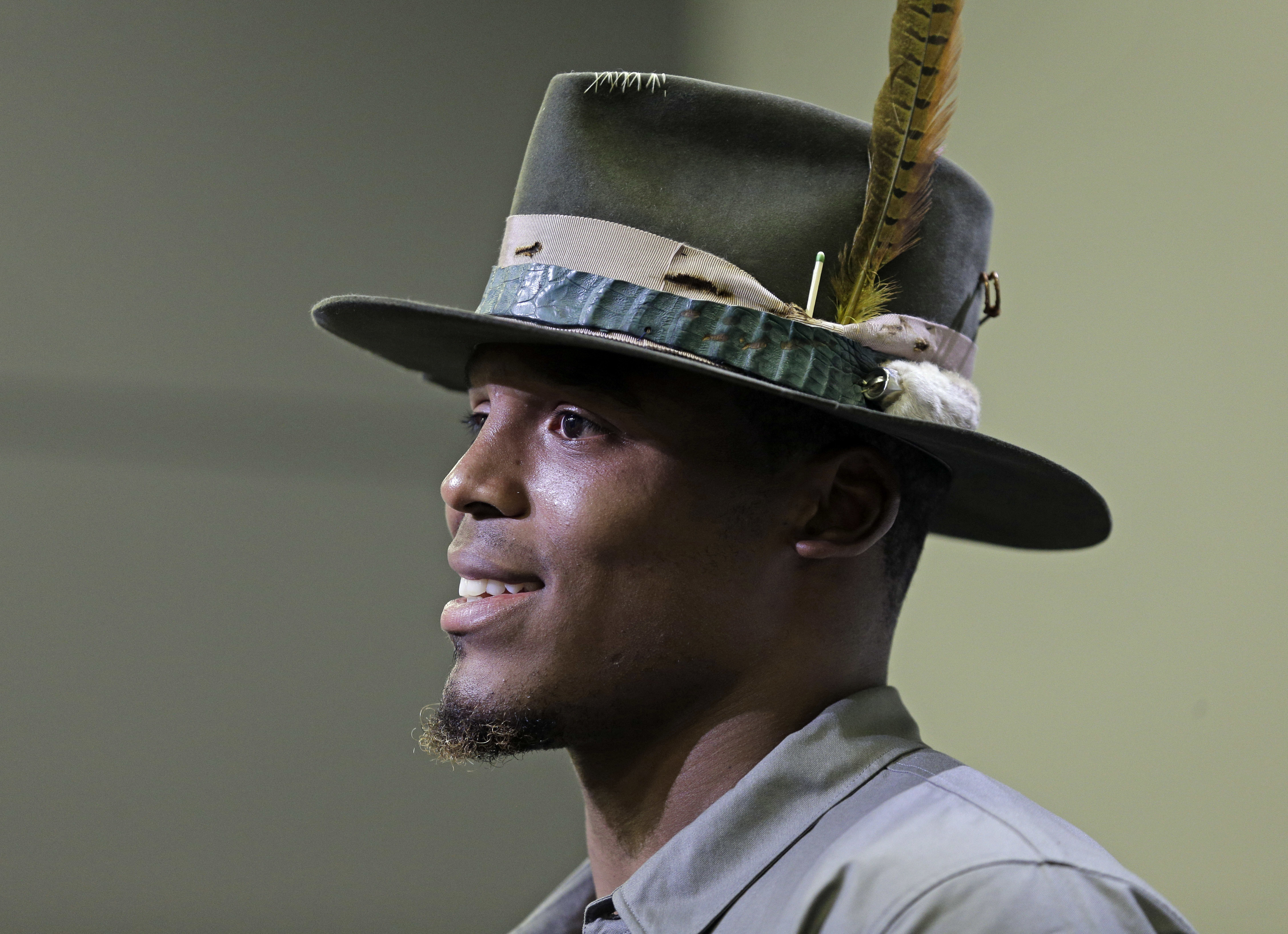 Carolina Panthers' Cam Newton speaks to the media during a news conference in Charlotte, N.C., Wednesday, Nov. 2, 2016. Newton spoke briefly about meeting with NFL commissioner Roger Goodell after complaining that he didn't feel officials were protecting
