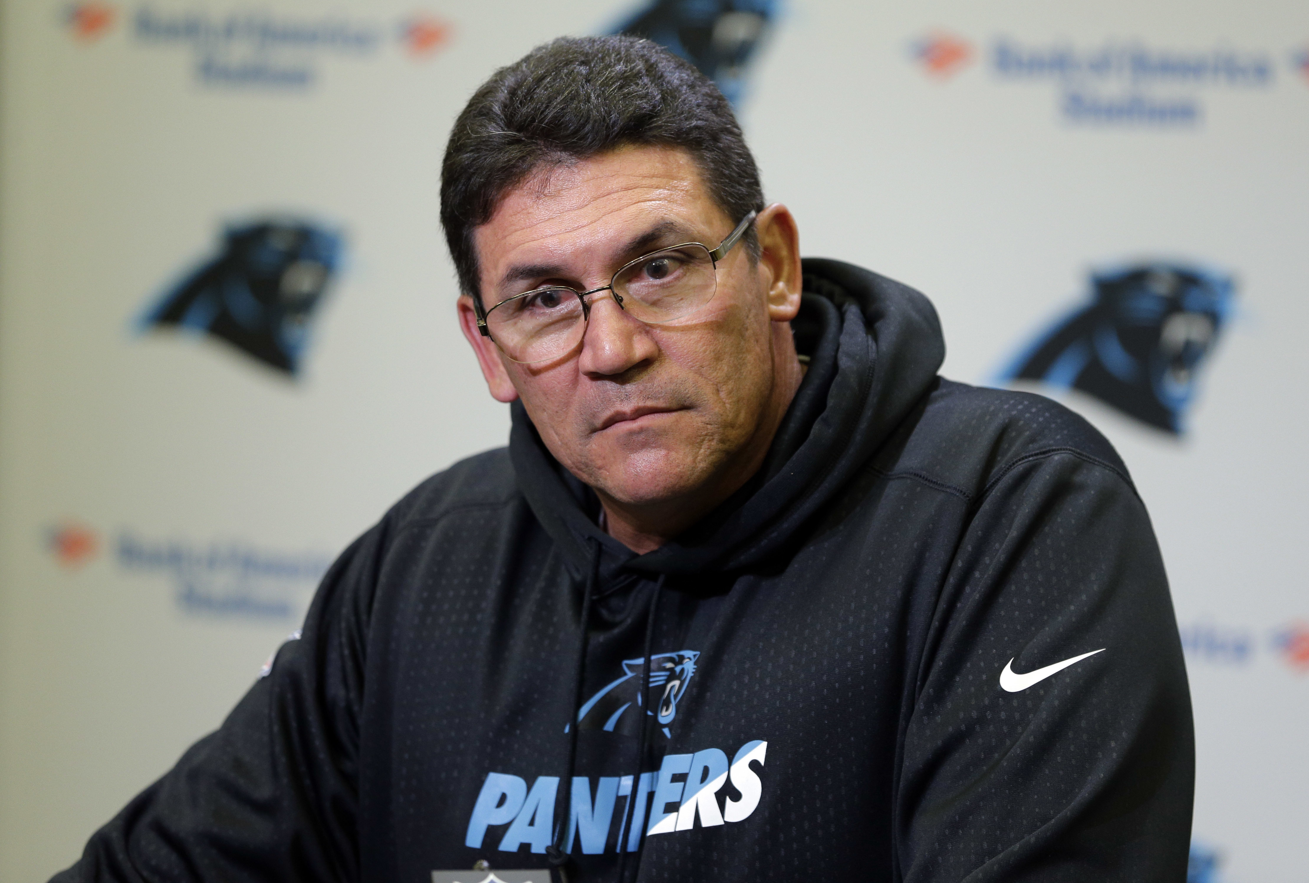 Carolina Panthers head coach Ron Rivera speaks to the media during a news conference in Charlotte, N.C., Wednesday, Nov. 2, 2016. (AP Photo/Chuck Burton)