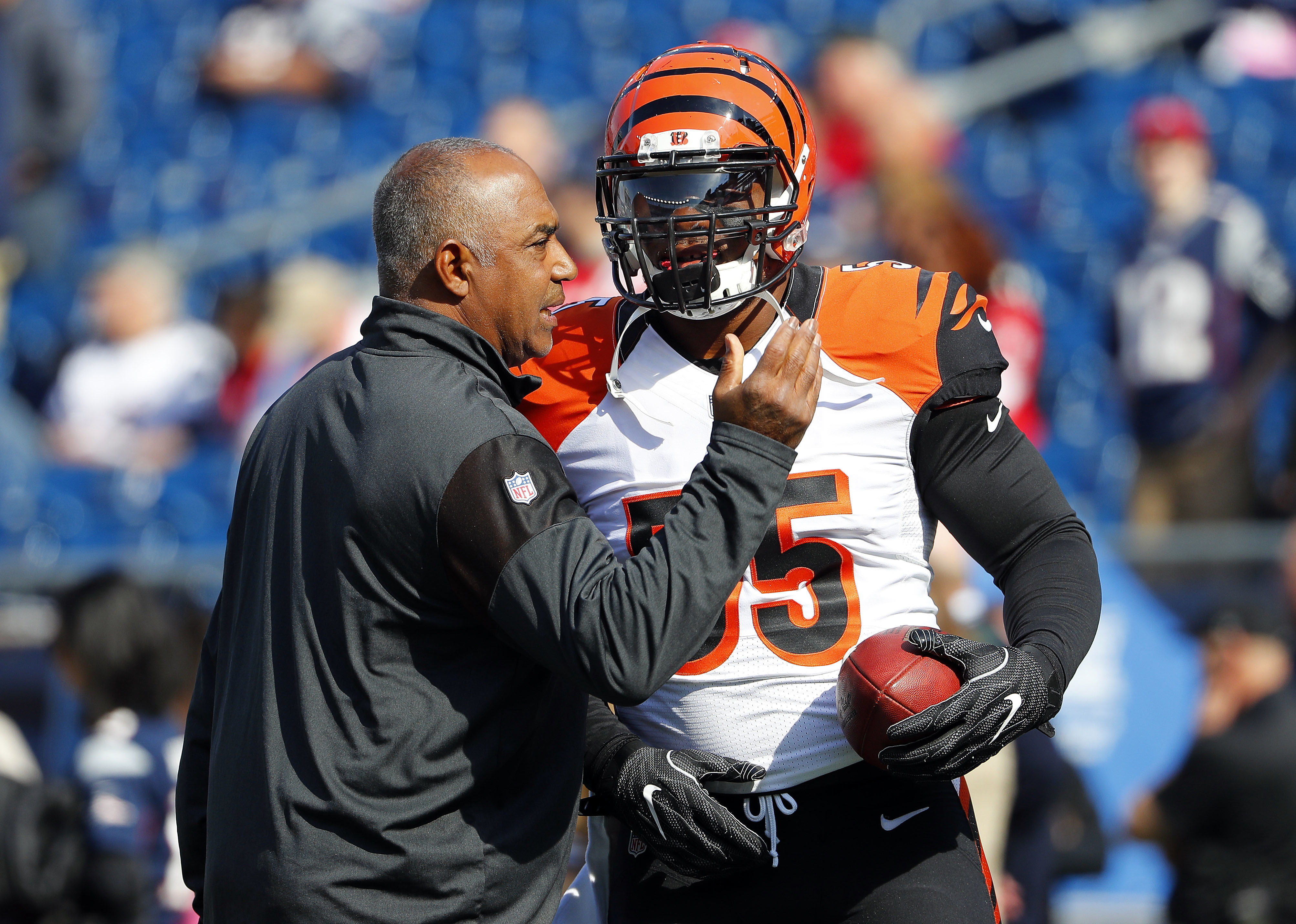 FILE - In this Oct. 16, 2016, file photo, Cincinnati Bengals head coach Marvin Lewis talks with outside linebacker Vontaze Burfict before their NFL football game against the New England Patriots at Gillette Stadium in Foxborough, Mass. The Bengals thought