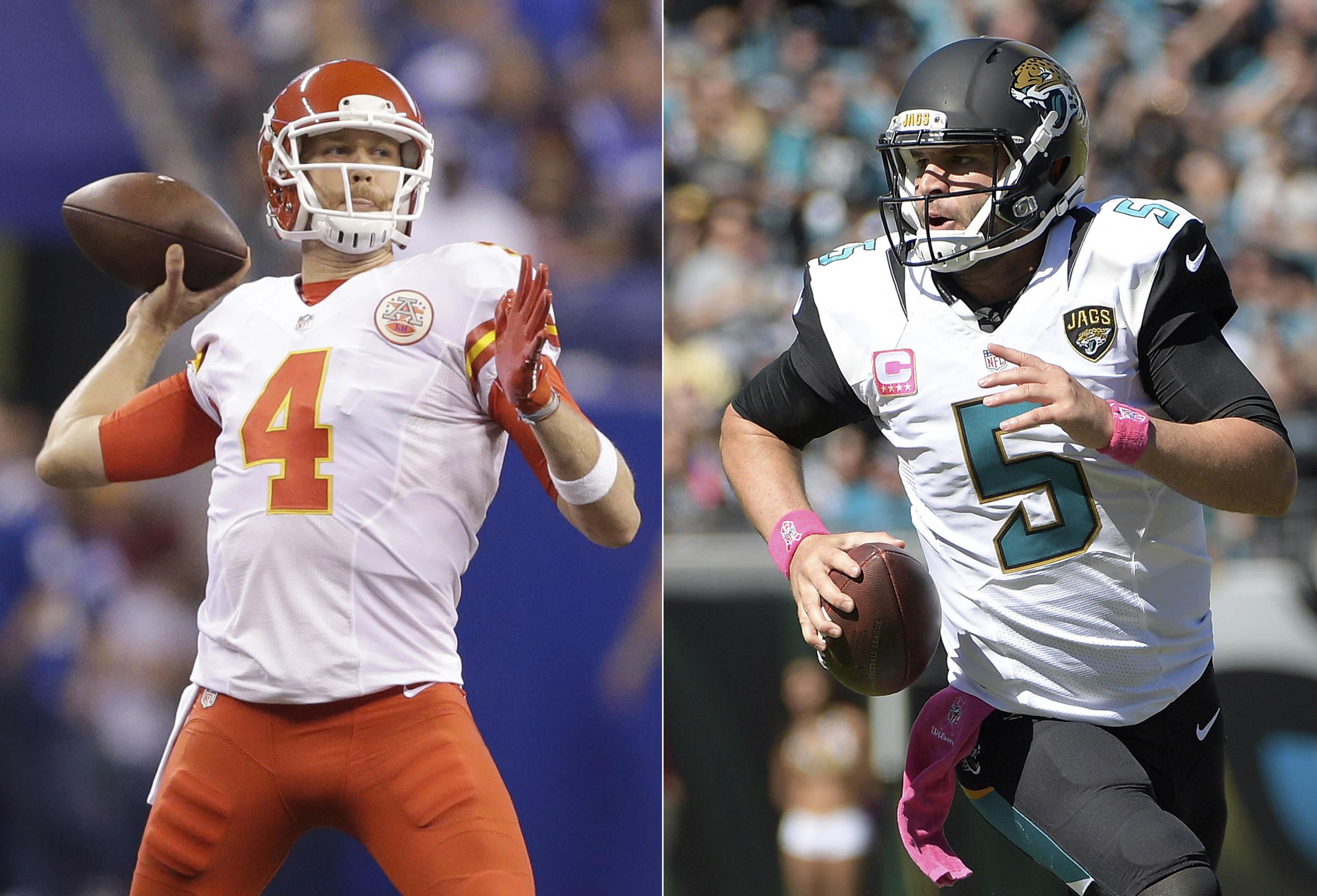 FILE - At left, in an Oct. 30, 2016, file photo, Kansas City Chiefs quarterback Nick Foles throws during the second half of an NFL football game against the Indianapolis Colts, in Indianapolis. At right, in an Oct. 23, 2016, file photo, Jacksonville Jagua