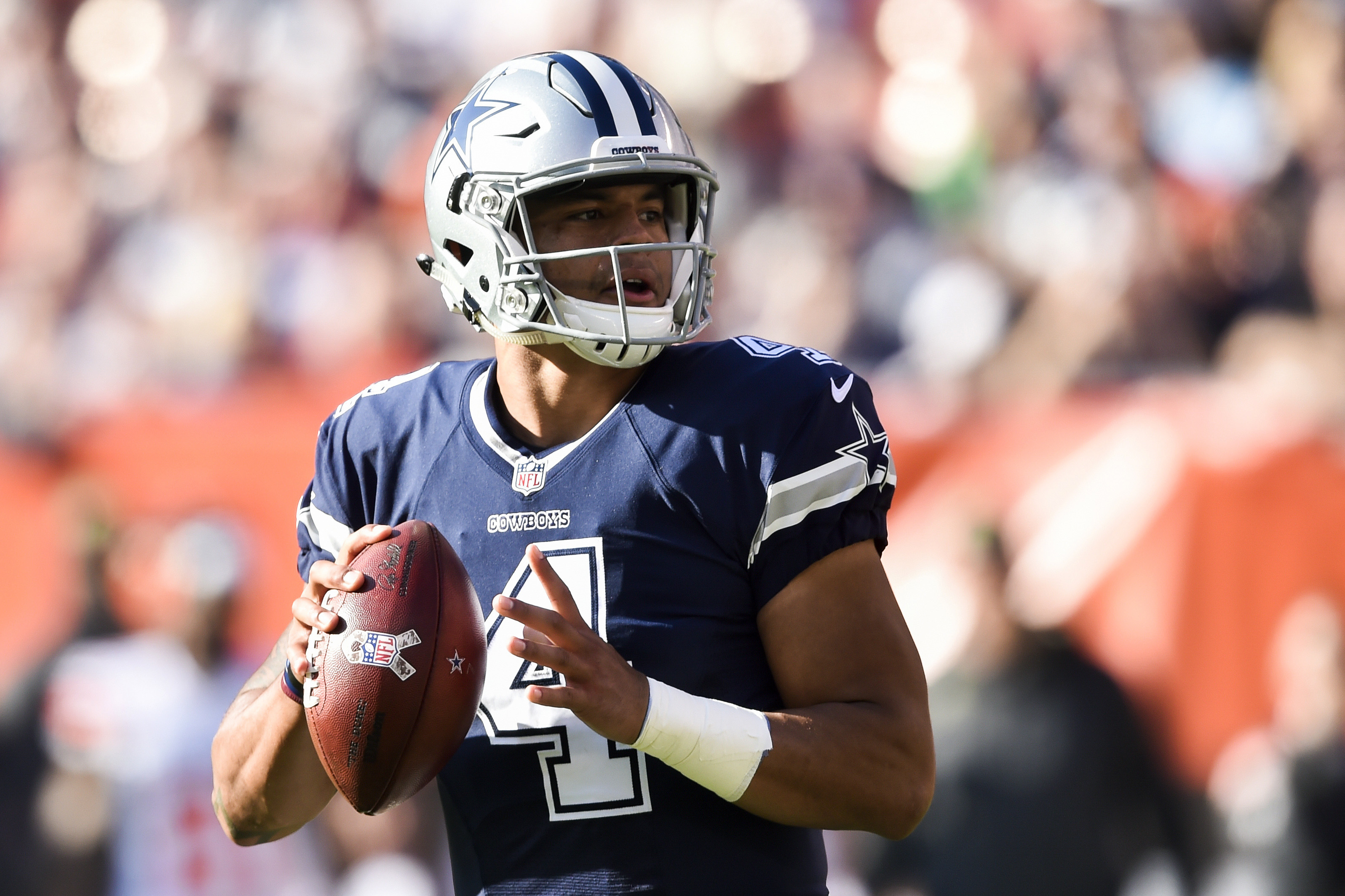Dallas Cowboys quarterback Dak Prescott looks to pass in the first half of an NFL football game against the Cleveland Browns, Sunday, Nov. 6, 2016, in Cleveland. (AP Photo/David Richard)