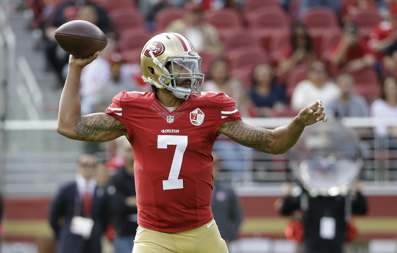 San Francisco 49ers quarterback Colin Kaepernick looks to throw during the first half of an NFL football game against the New Orleans Saints Sunday, Nov. 6, 2016, in Santa Clara, Calif. (AP Photo/Tony Avelar)