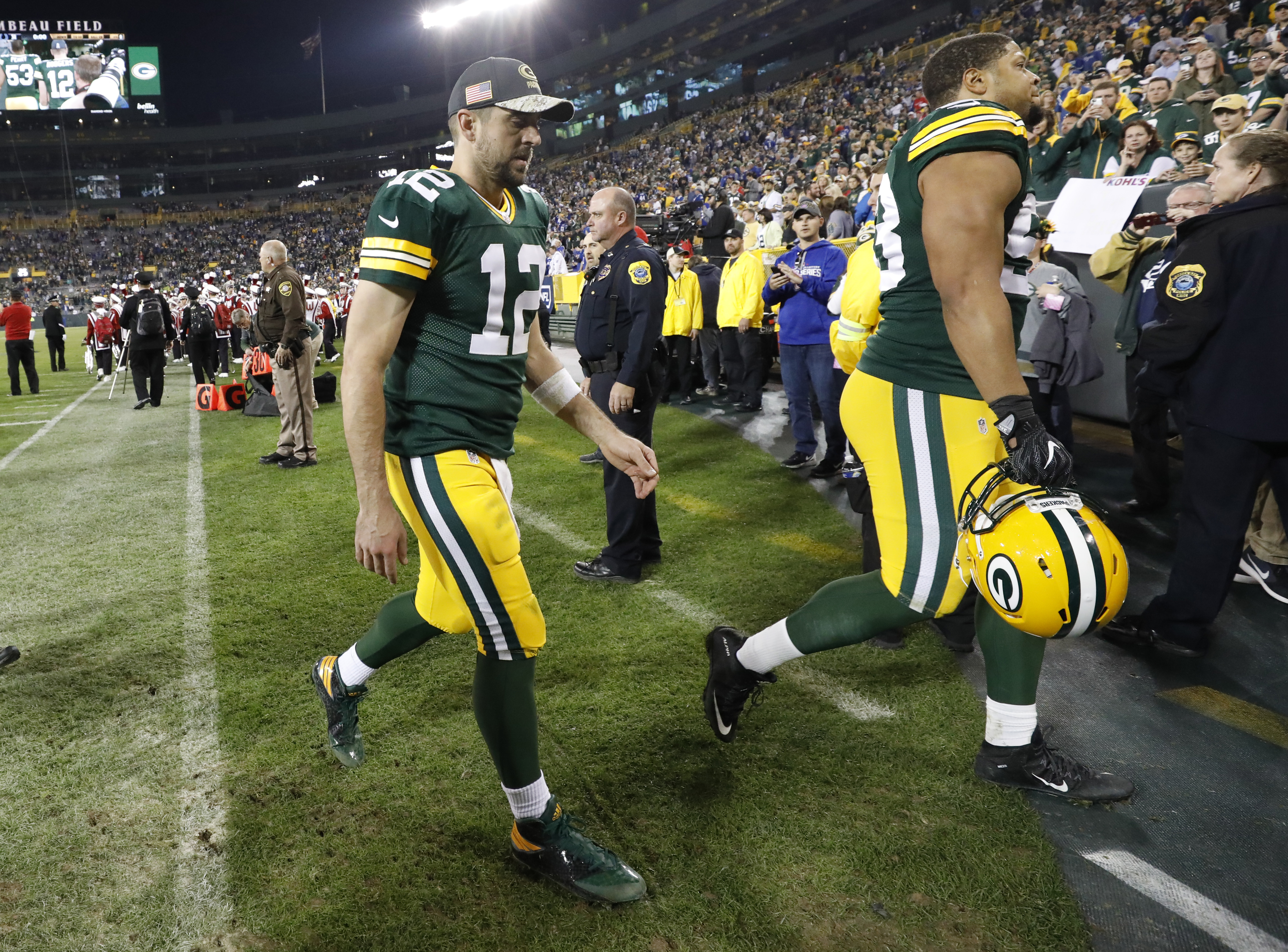 Green Bay Packers' Aaron Rodgers walks off the field after an NFL football game against the Indianapolis Colts Sunday, Nov. 6, 2016, in Green Bay, Wis. The Colts won 31-26. (AP Photo/Jeffrey Phelps)