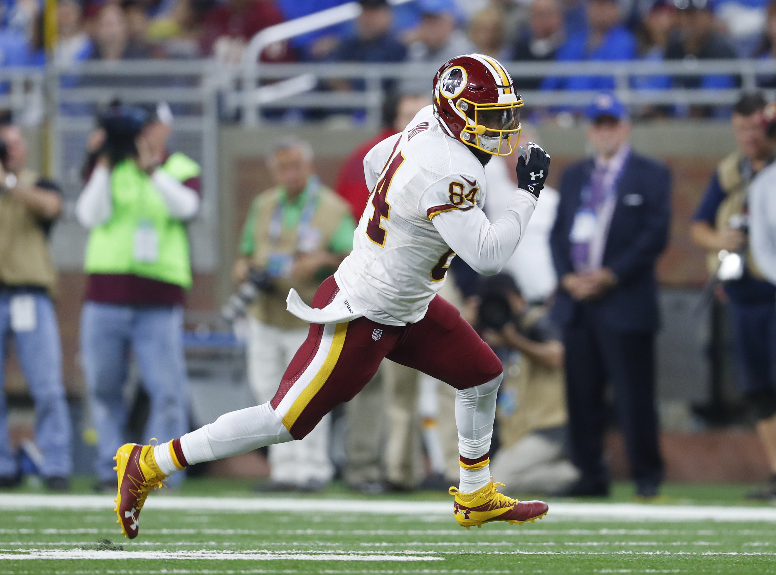 In this photo taken Oct. 24, 2016, Washington Redskins tight end Niles Paul (84) runs after a catch Detroit Lions during an NFL football game in Detroit. The Washington Redskins have placed tight end Niles Paul on injured reserve with a shoulder injury. C