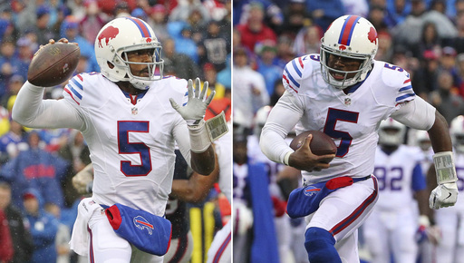 FILE - At left, in an Oct. 30, 2016, file photo, Buffalo Bills quarterback Tyrod Taylor (5) throws a pass during the first half of an NFL football game against the New England Patriots in Orchard Park, N.Y. At right, in an Oct. 30, 2016, file photo, Bills