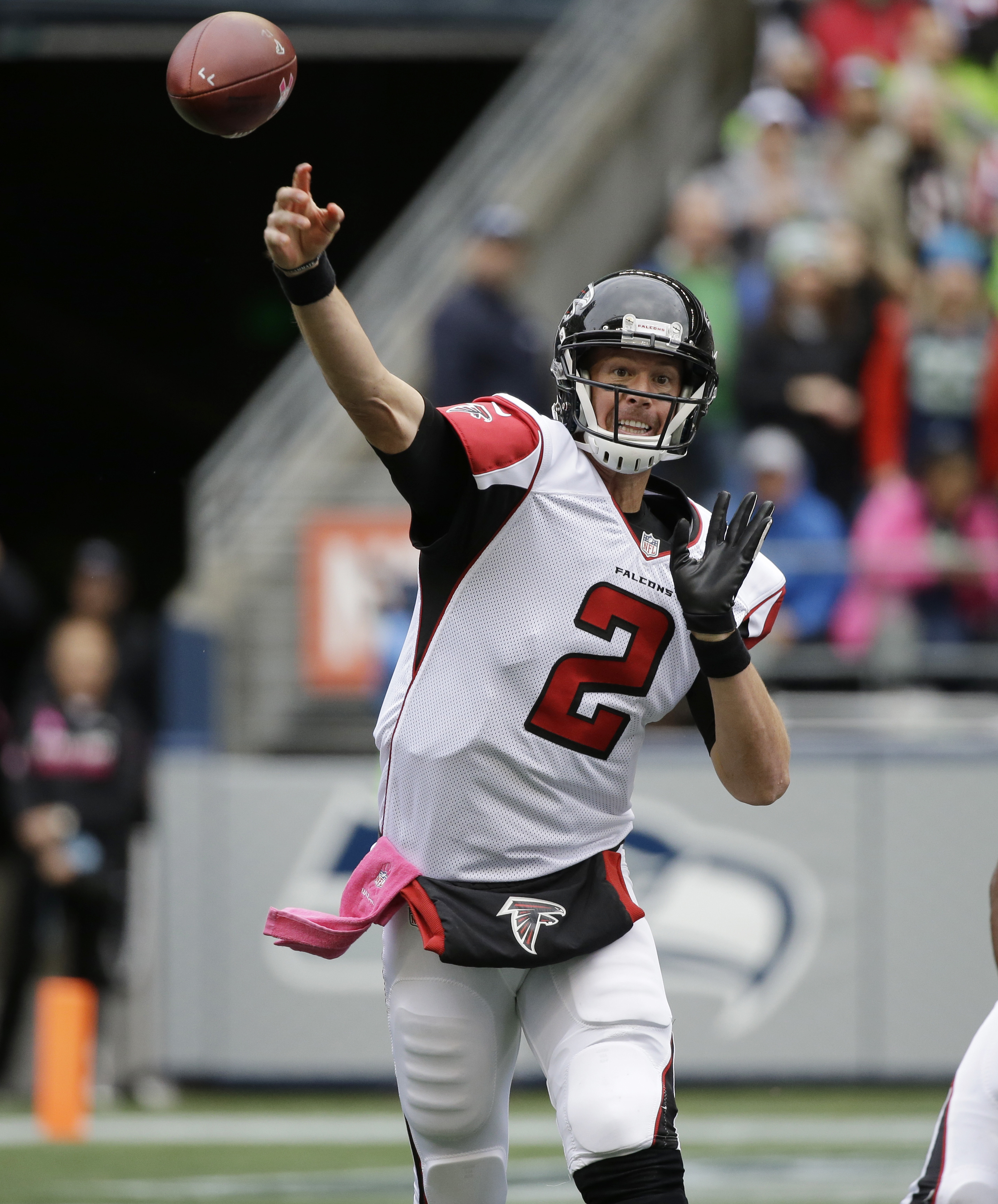 FILE - In this Oct. 16, 2016, file photo, Atlanta Falcons quarterback Matt Ryan passes against the Seattle Seahawks in the first half of an NFL football game, in Seattle.One year ago, there were questions about Matt Ryan's arm strength, sharp decline in t