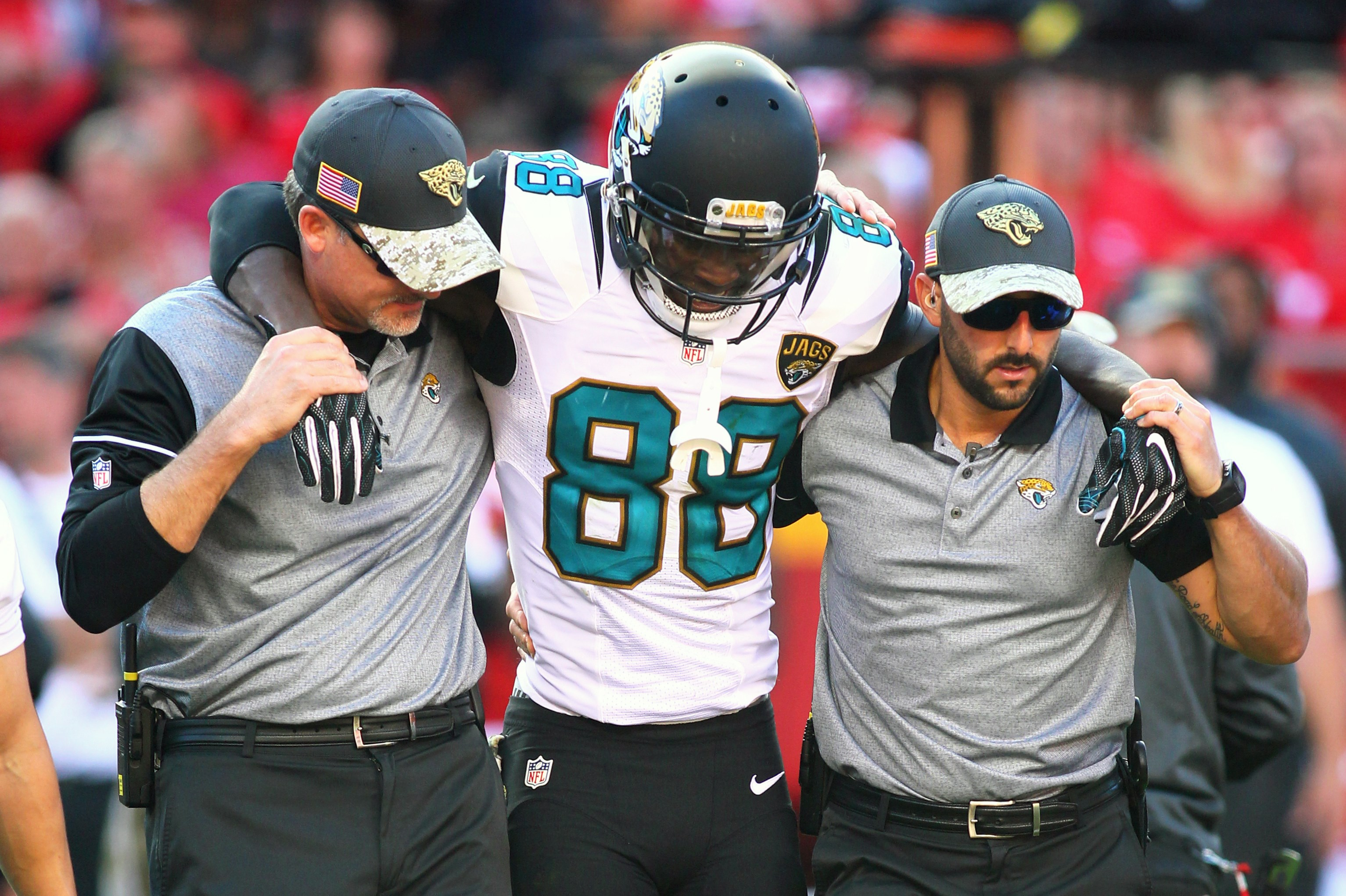 Jacksonville Jaguars wide receiver Allen Hurns (88) is helped off the field after an injury during an NFL game against the Kansas City Chiefs on Sunday Nov. 6, 2016 at Arrowhead Stadium in Kansas City, Mo. The Chiefs won the game 19-14.  (AP Photo/TUSP, J
