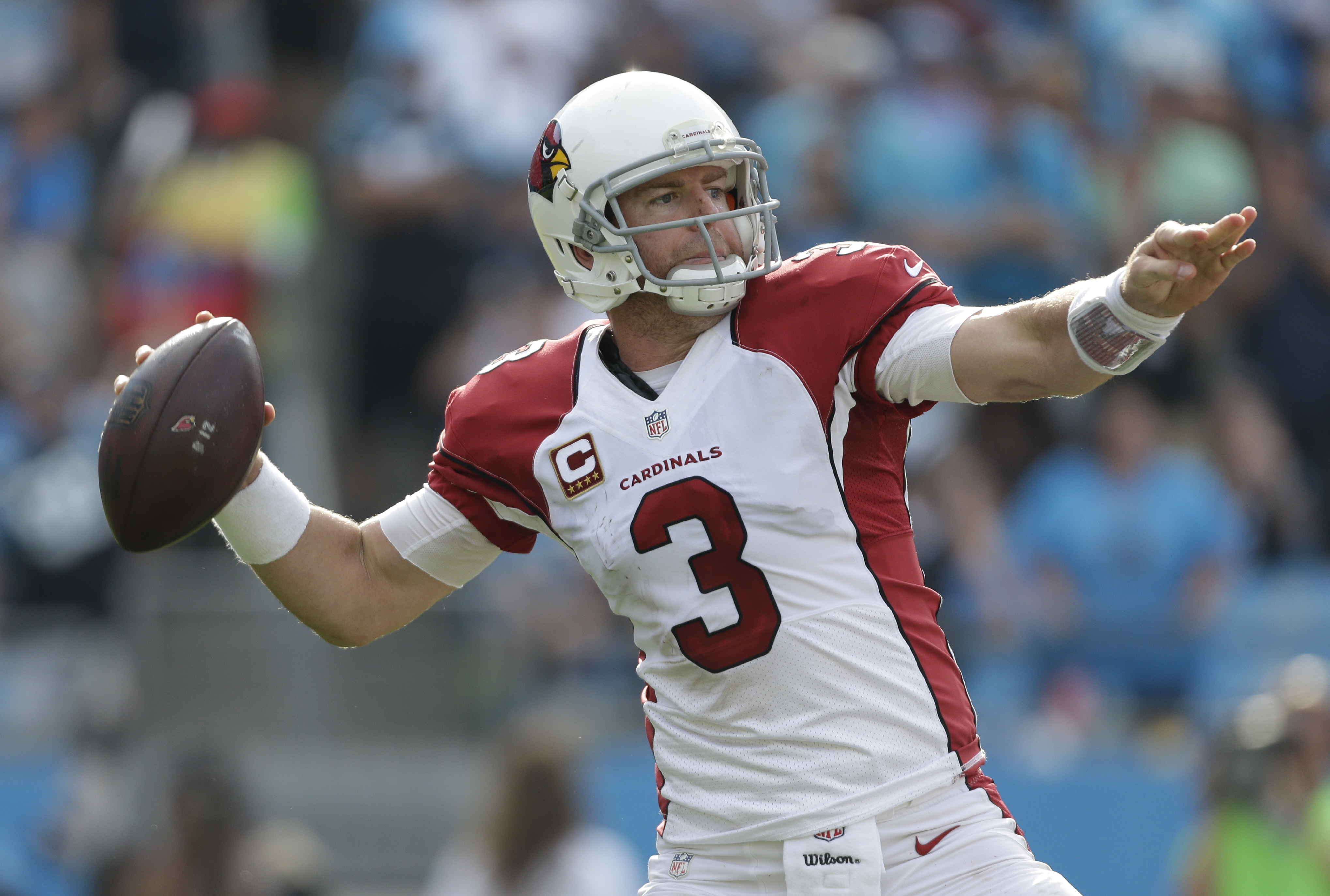 "FILE - In this Oct. 30, 2016, file photo, Arizona Cardinals' Carson Palmer (3) looks to pass against the Carolina Panthers during an NFL football game in Charlotte, N.C. The Cardinals play the San Francisco 49ers this week. ""I know people dont want to hea"
