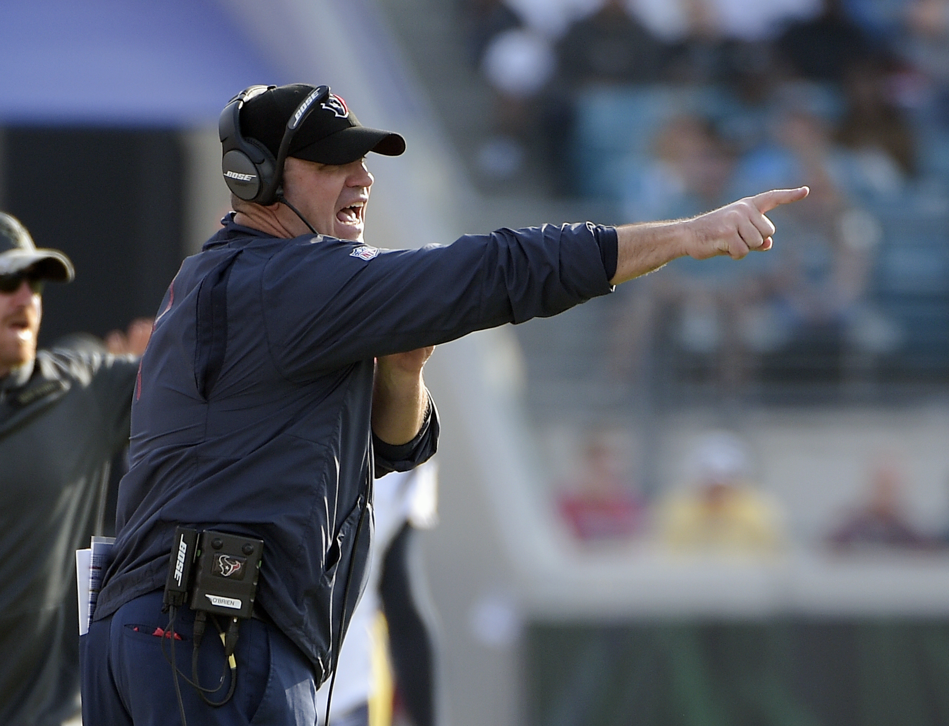 Houston Texans head coach Bill O'Brien directs players on the field during the second half of an NFL football game against the Jacksonville Jaguars in Jacksonville, Fla., Sunday, Nov. 13, 2016. (AP Photo/Phelan M. Ebenhack)