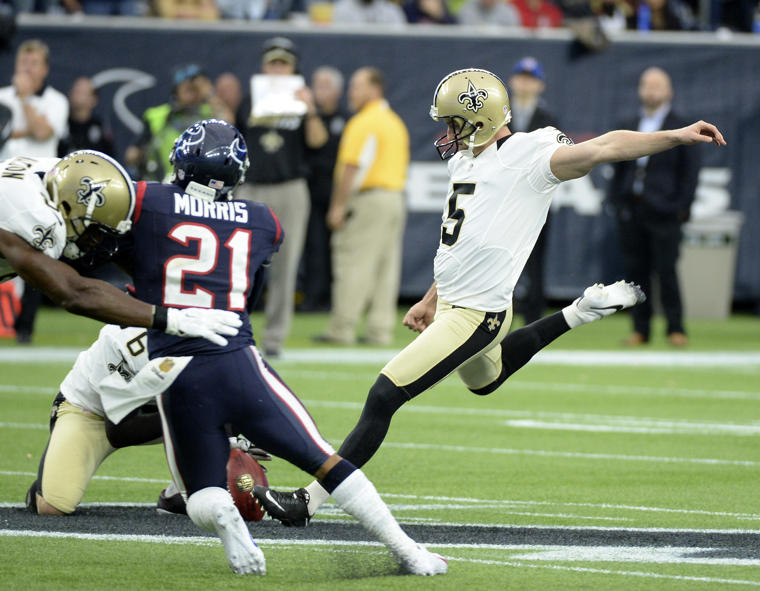 FILE - In this Nov. 29, 2015, file photo, then-New Orleans Saints kicker Kai Forbath (5) kicks a 57-yard field goal during the second quarter of an NFL football game against the Houston Texans, in Houston. Another loss has triggered another round of chang