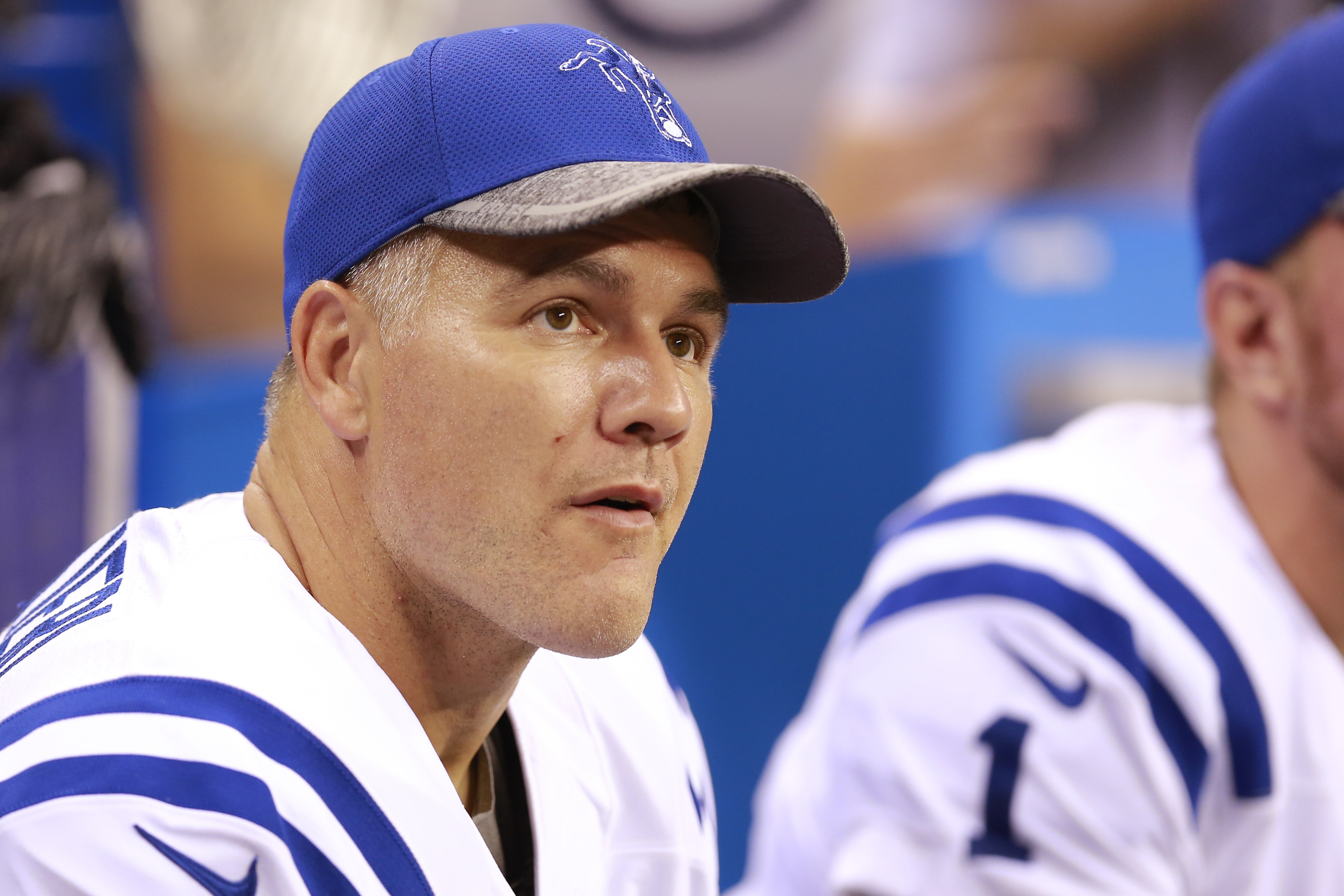 This Aug. 20, 2016 photo shows Indianapolis Colts kicker Adam Vinatieri (4) on the sideline during the second half of an NFL preseason football game in Indianapolis. Vinatieris reunions usually consist of a personal trip down memory lane. Forty players, n