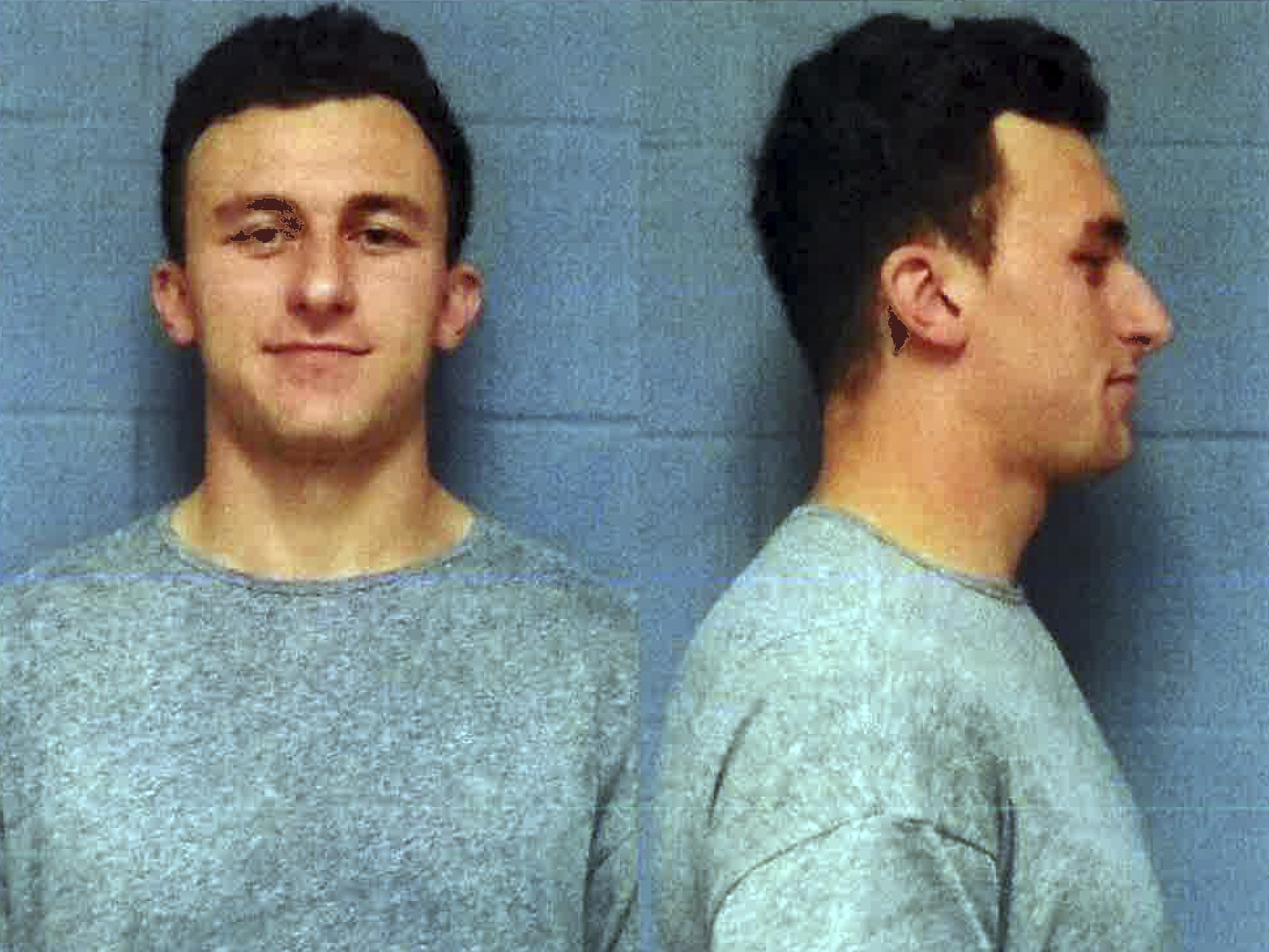 This booking photo provided by the Highland Park, Texas, Department of Public Safety, shows former Cleveland Browns quarterback Johnny Manziel, who was booked and posted bond Wednesday, May 4, 2016, in a domestic violence case, one day before he faces his