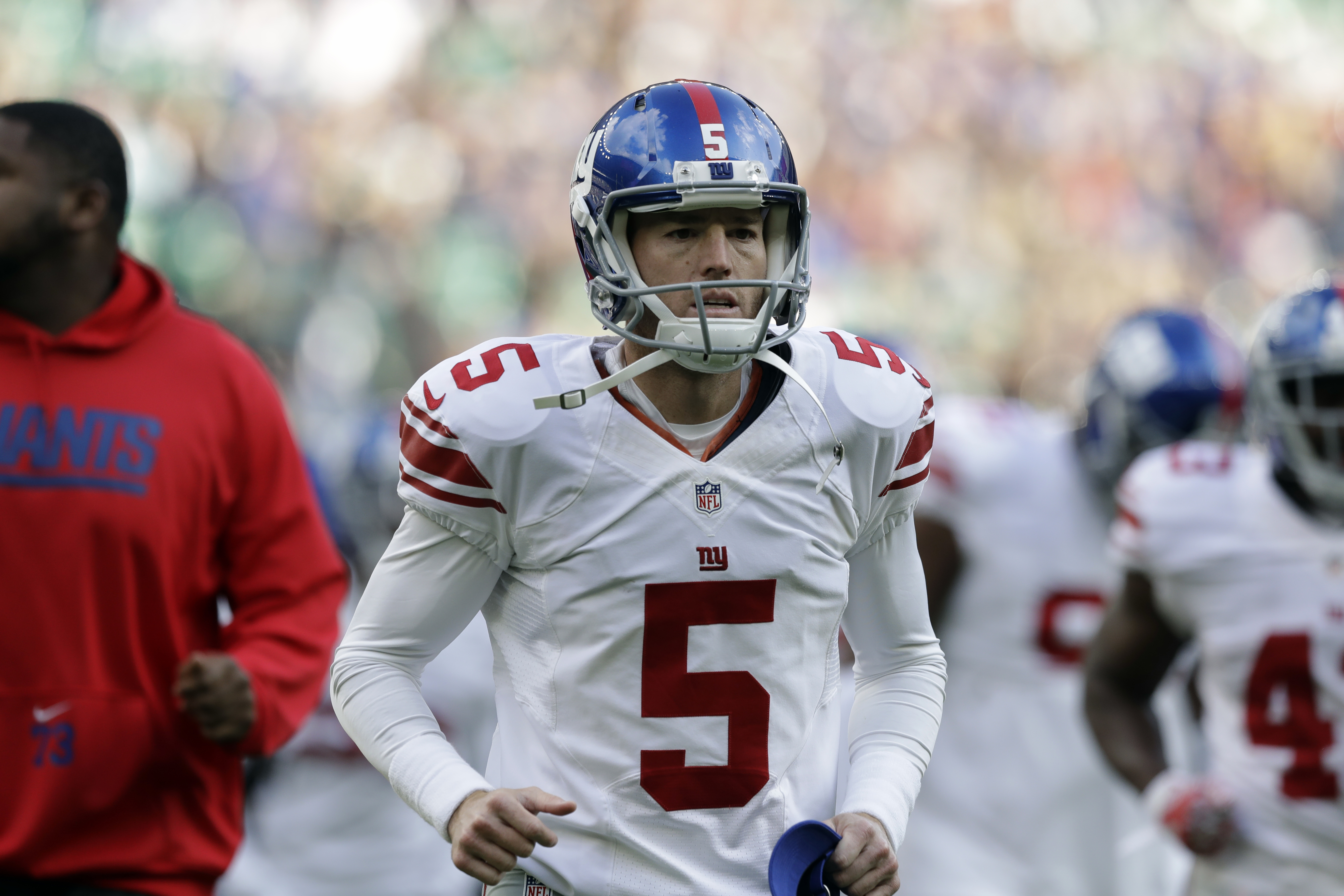 FILE -  In this Sunday, Oct. 23, 2016 file photo, New York Giants kicker Robbie Gould (5) runs on the field before an NFL football game between New York Giants and Los Angeles Rams at Twickenham stadium in London. Giants placekicker Robbie Gould is the Be