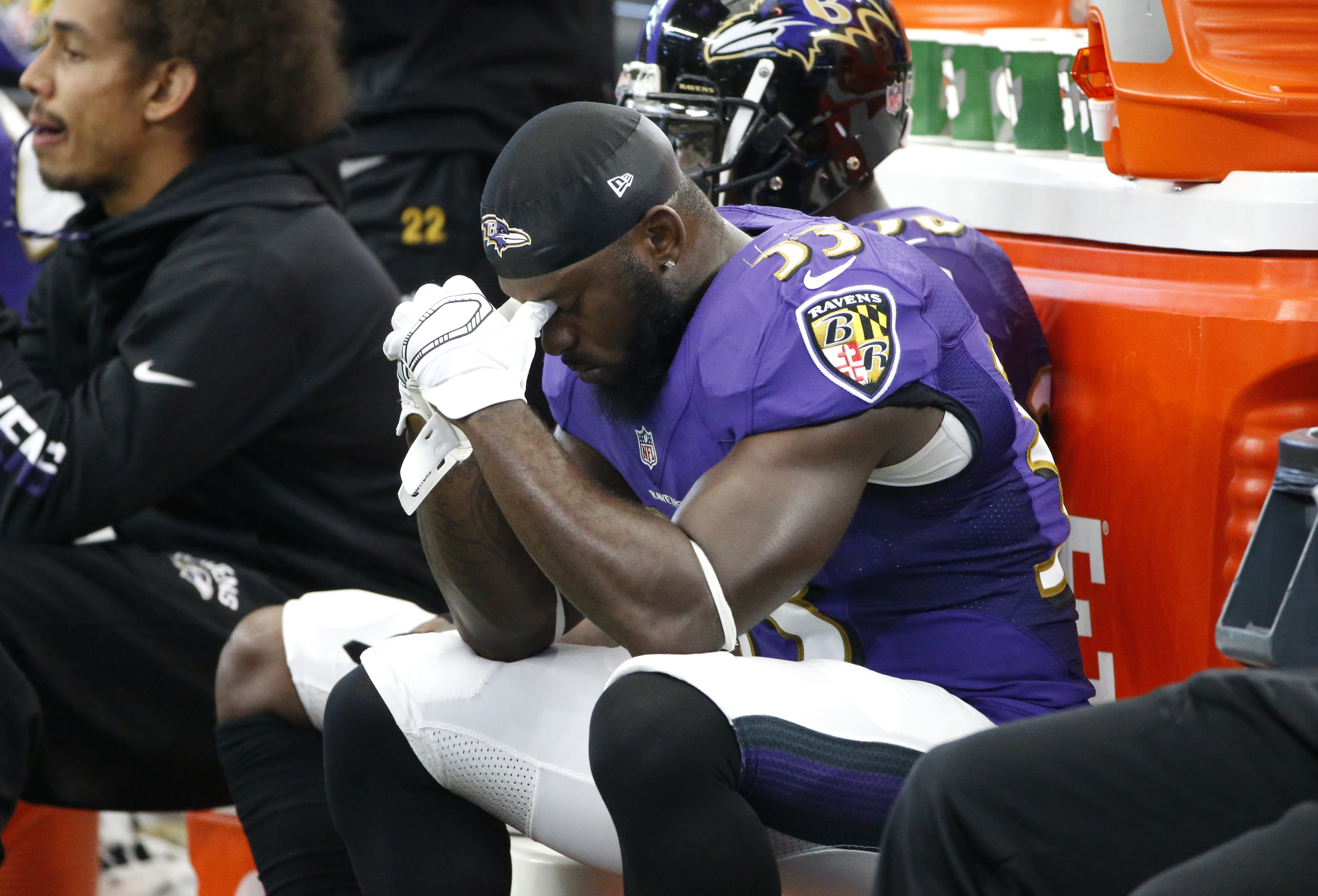 Baltimore Ravens' Matt Elam sits on the bench late in the second half of an NFL football game against the Dallas Cowboys on Sunday, Nov. 20, 2016, in Arlington, Texas. (AP Photo/Ron Jenkins)