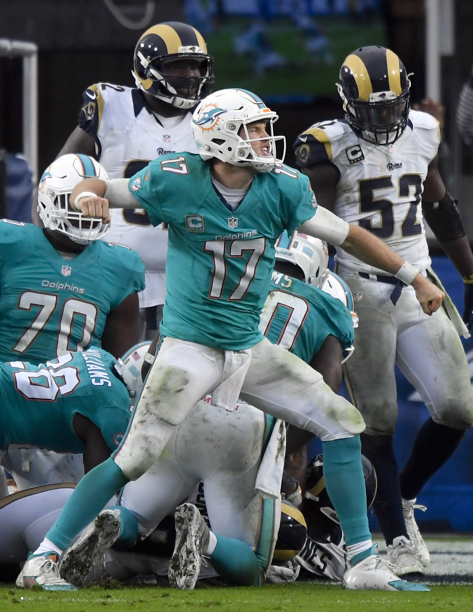 Miami Dolphins quarterback Ryan Tannehill celebrates after their touchdown against the Los Angeles Rams during the second half of an NFL football game Sunday, Nov. 20, 2016, in Los Angeles. (AP Photo/Mark J. Terrill)
