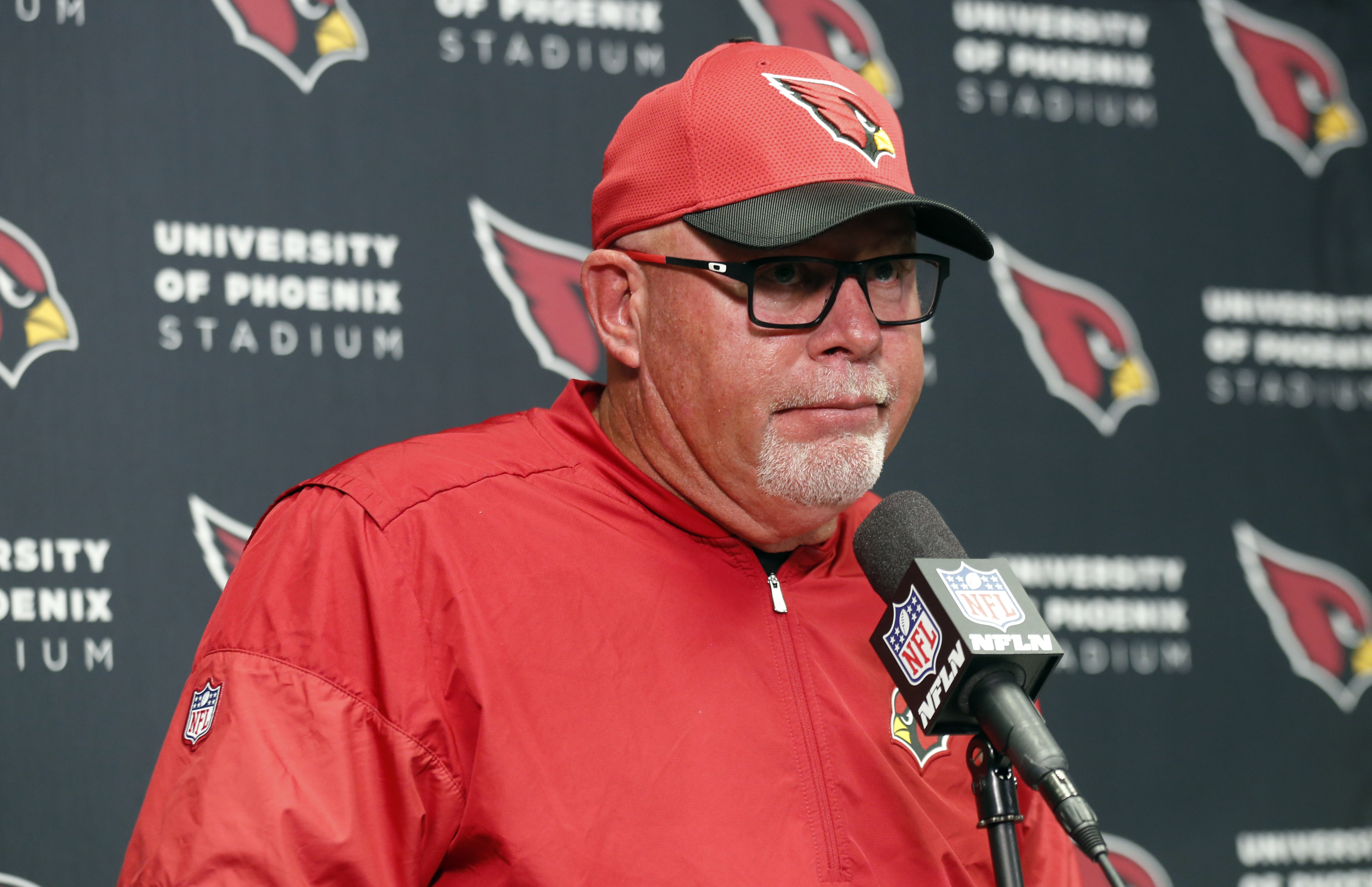 FILE - In this Sunday, Nov. 20, 2016, file photo, Arizona Cardinals head coach Bruce Arians speaks during a news conference after a 30-24 loss to the Minnesota Vikings in an NFL football game, in Minneapolis. Arians was back at work on Tuesday after a bri