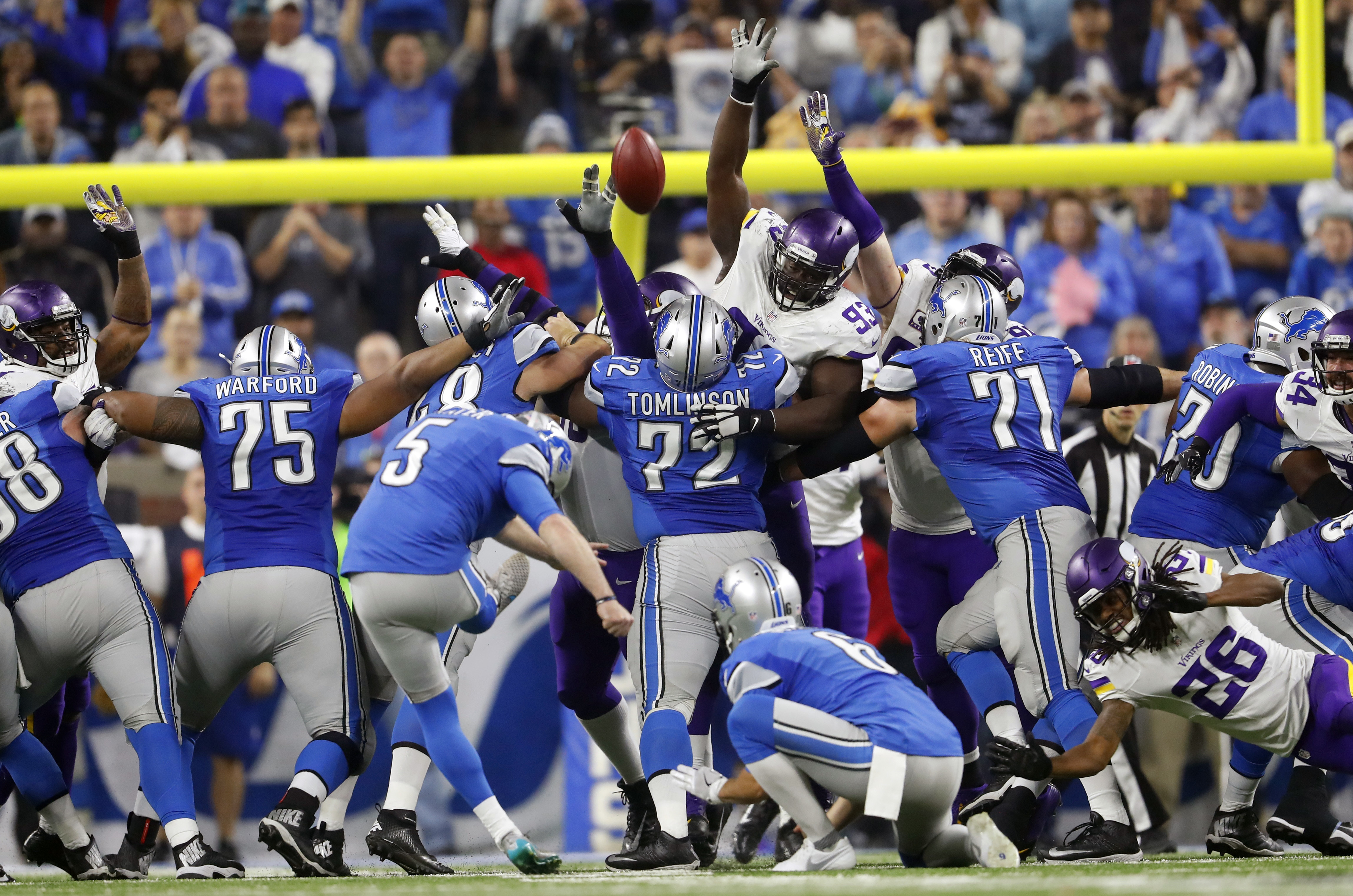 Detroit Lions kicker Matt Prater (5) makes a 40-yard winning field goal during the second half of an NFL football game against the Minnesota Vikings, Thursday, Nov. 24, 2016, in Detroit. (AP Photo/Paul Sancya)