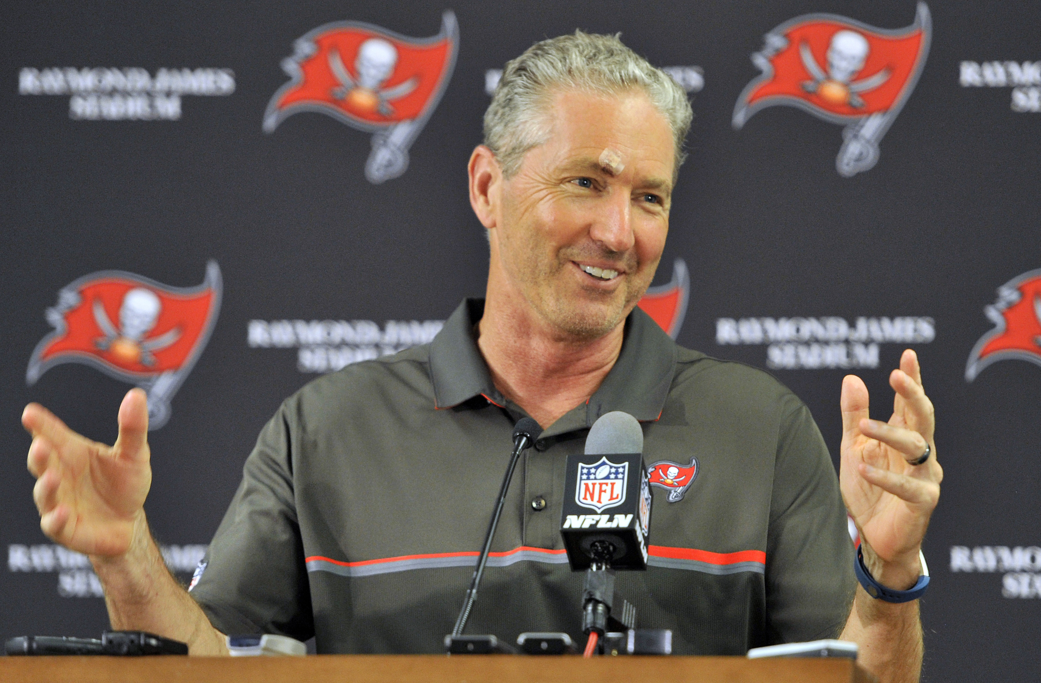 FILE - In a Sunday, Nov. 13, 2016 file photo, Tampa Bay Buccaneers head coach Dirk Koetter smiles during a post game news conference after the team defeated the Chicago Bears 36-10 during an NFL football game, in Tampa, Fla. The Buccaneers (5-5) have won
