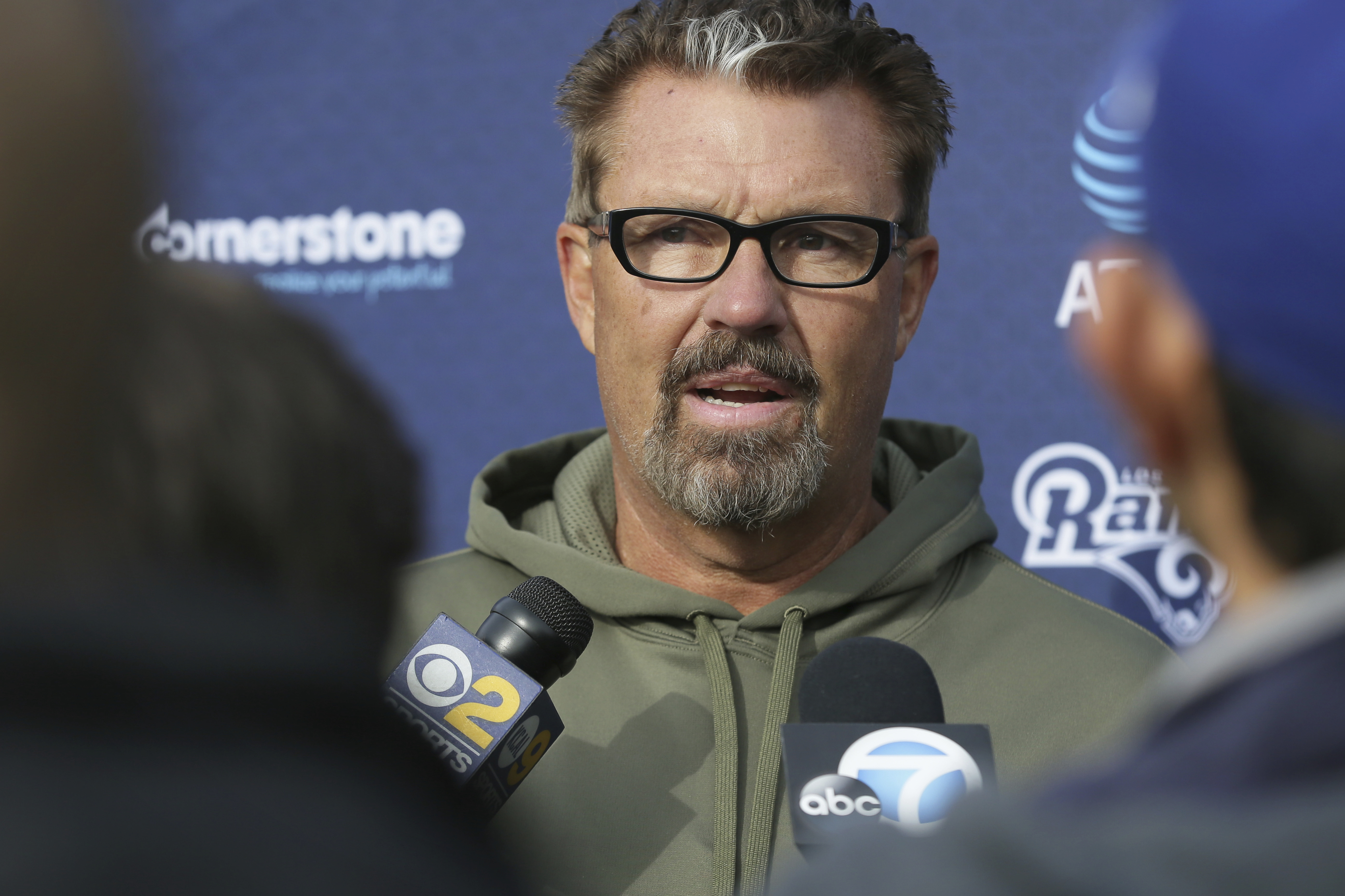 FILE - In a Friday Oct. 21, 2016 file photo, Los Angeles Rams defensive coordinator Gregg Williams speaks to the media after a practice session at Pennyhill Park Hotel in Bagshot, England. When the New Orleans Saints host the Rams on Sunday, Nov. 27, Will