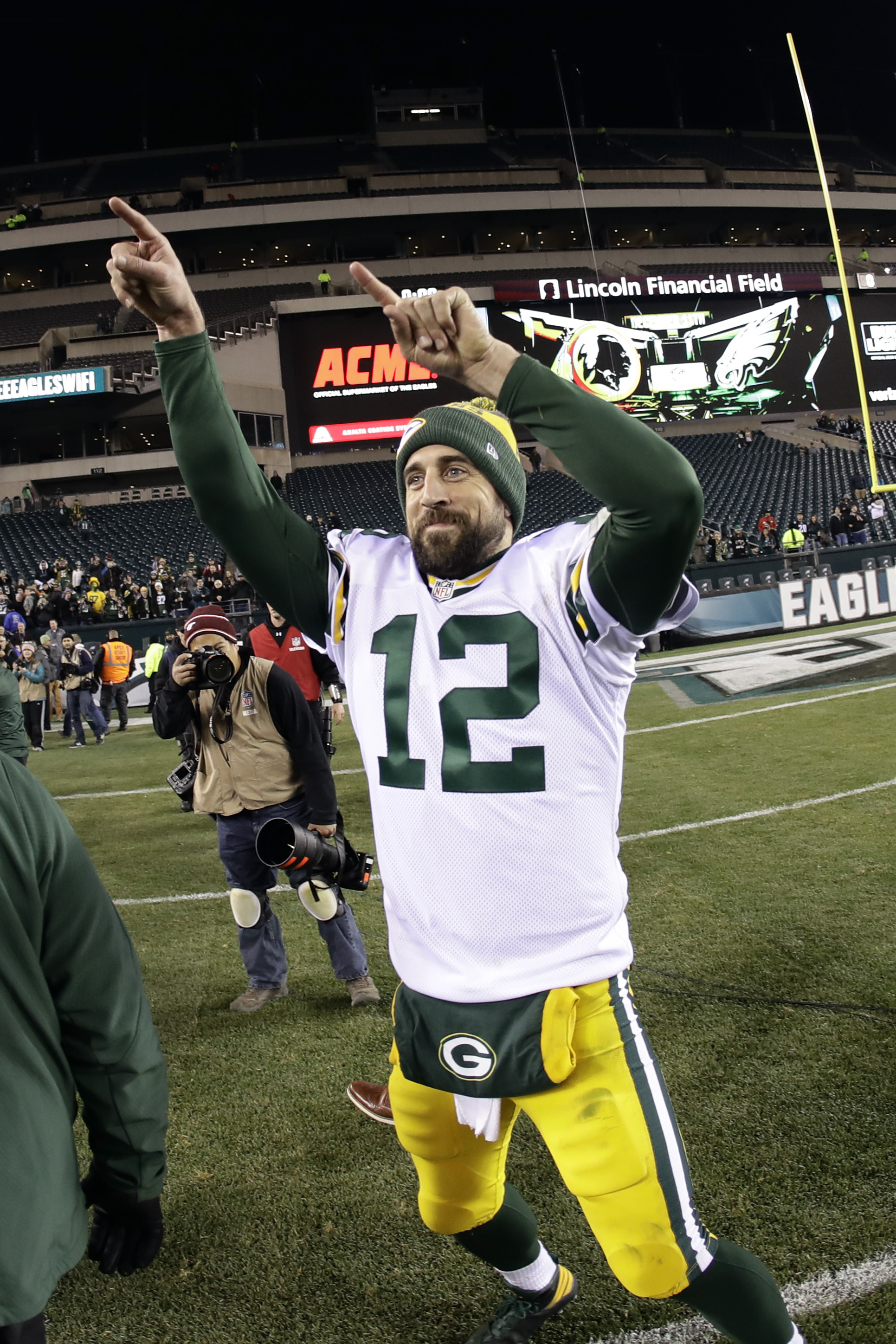 Green Bay Packers' Aaron Rodgers celebrates after an NFL football game against the Philadelphia Eagles, Monday, Nov. 28, 2016, in Philadelphia. Green Bay won 27-13. (AP Photo/Michael Perez)