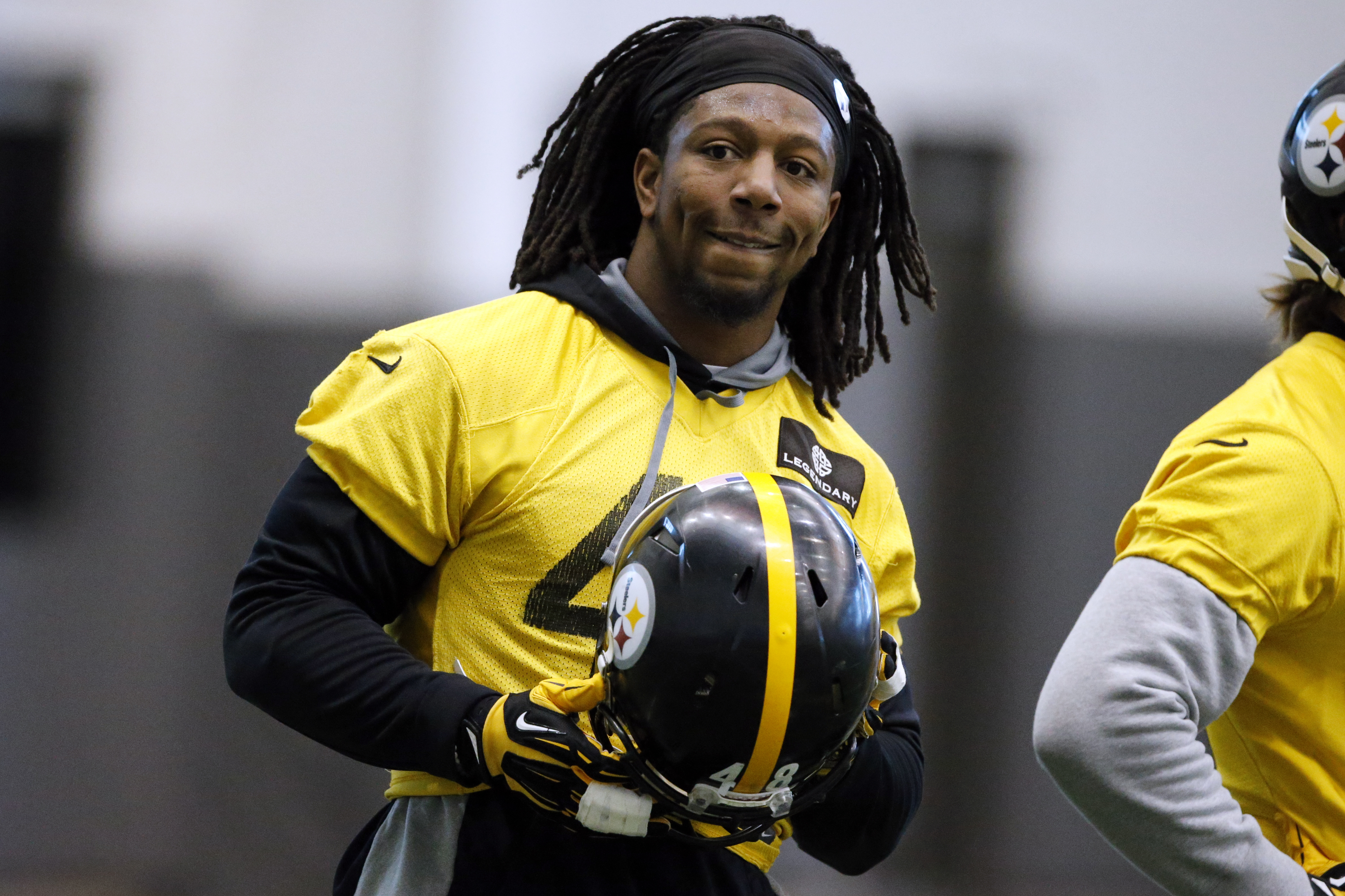 FILE - In this Jan. 13, 2016, file photo, Pittsburgh Steelers linebacker Bud Dupree takes a break during an NFL football practice, in Pittsburgh.  The training wheels are off for Bud Dupree. Finally. The Steelers linebacker heads into Sunday's game agains