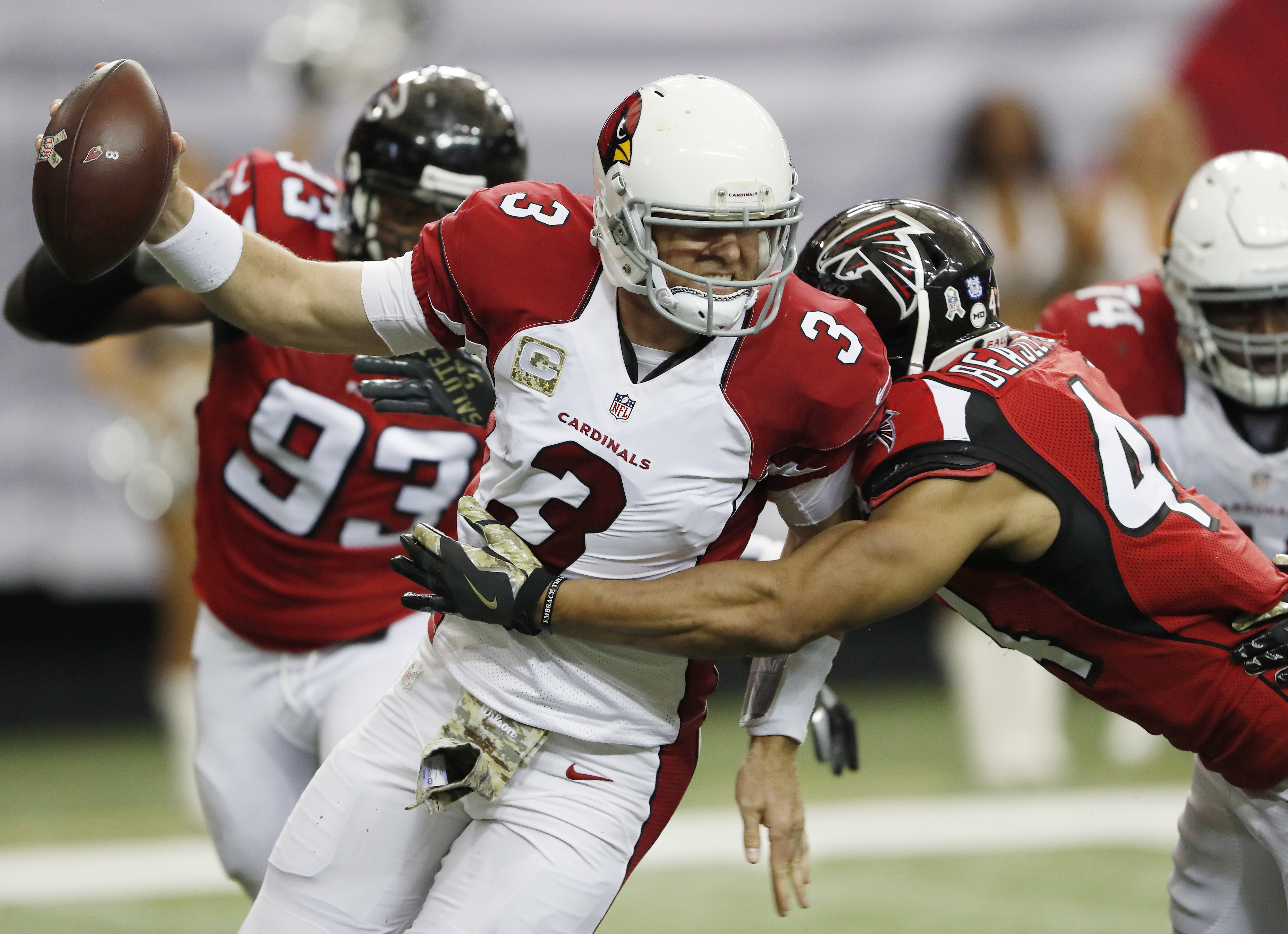 "FILE - In this Nov. 27, 2016, file photo, Atlanta Falcons outside linebacker Vic Beasley (44) hits Arizona Cardinals quarterback Carson Palmer (3) behind the line of scrimmage during an NFL football game in Atlanta. ""Looking back to last year, I think we"