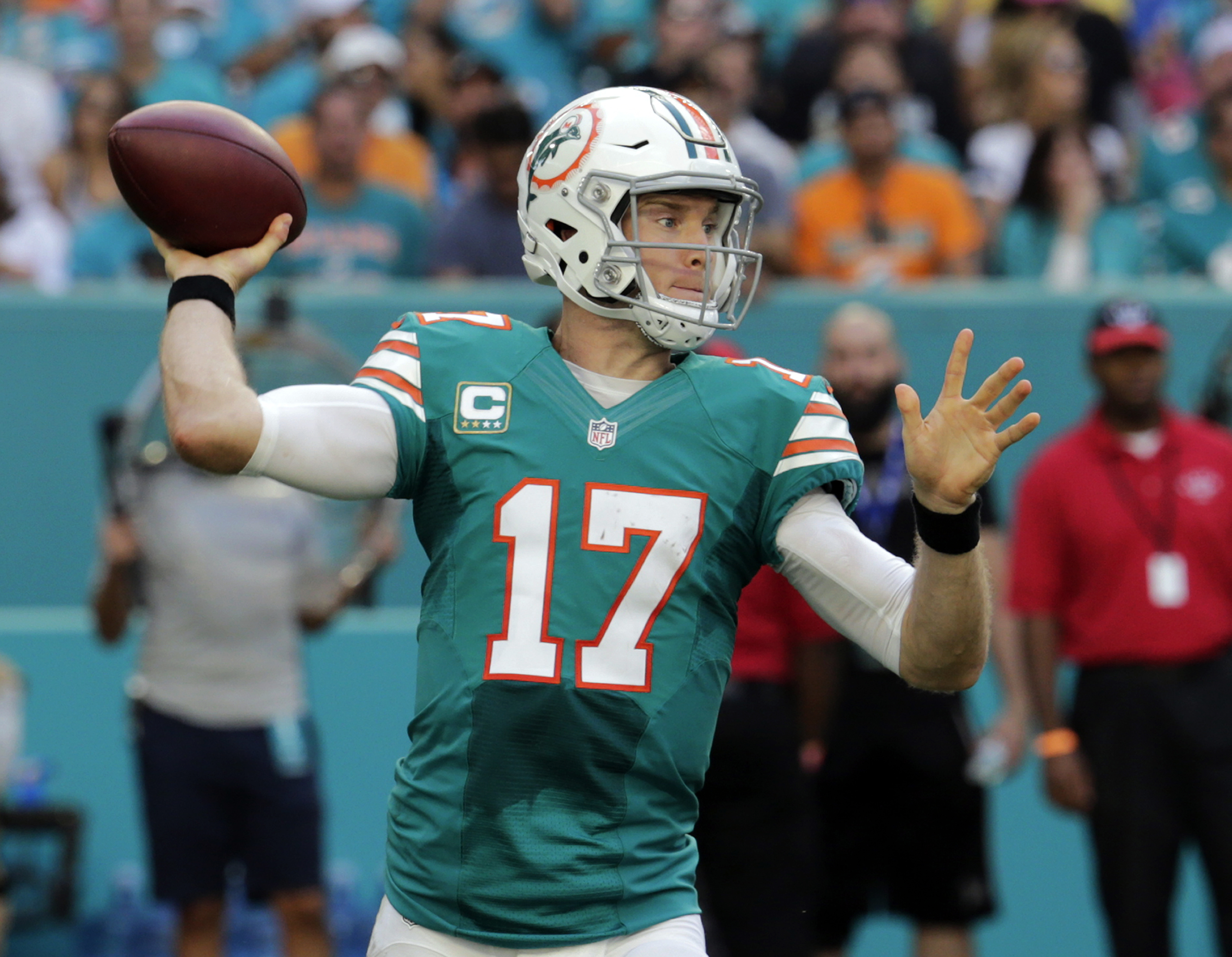 FILE -  In this Sunday, Nov. 27, 2016 file photo, Miami Dolphins quarterback Ryan Tannehill (17) looks to pass, during the first half of an NFL football game against the San Francisco 49ers in Miami Gardens, Fla. December has historically been Ryan Tanneh