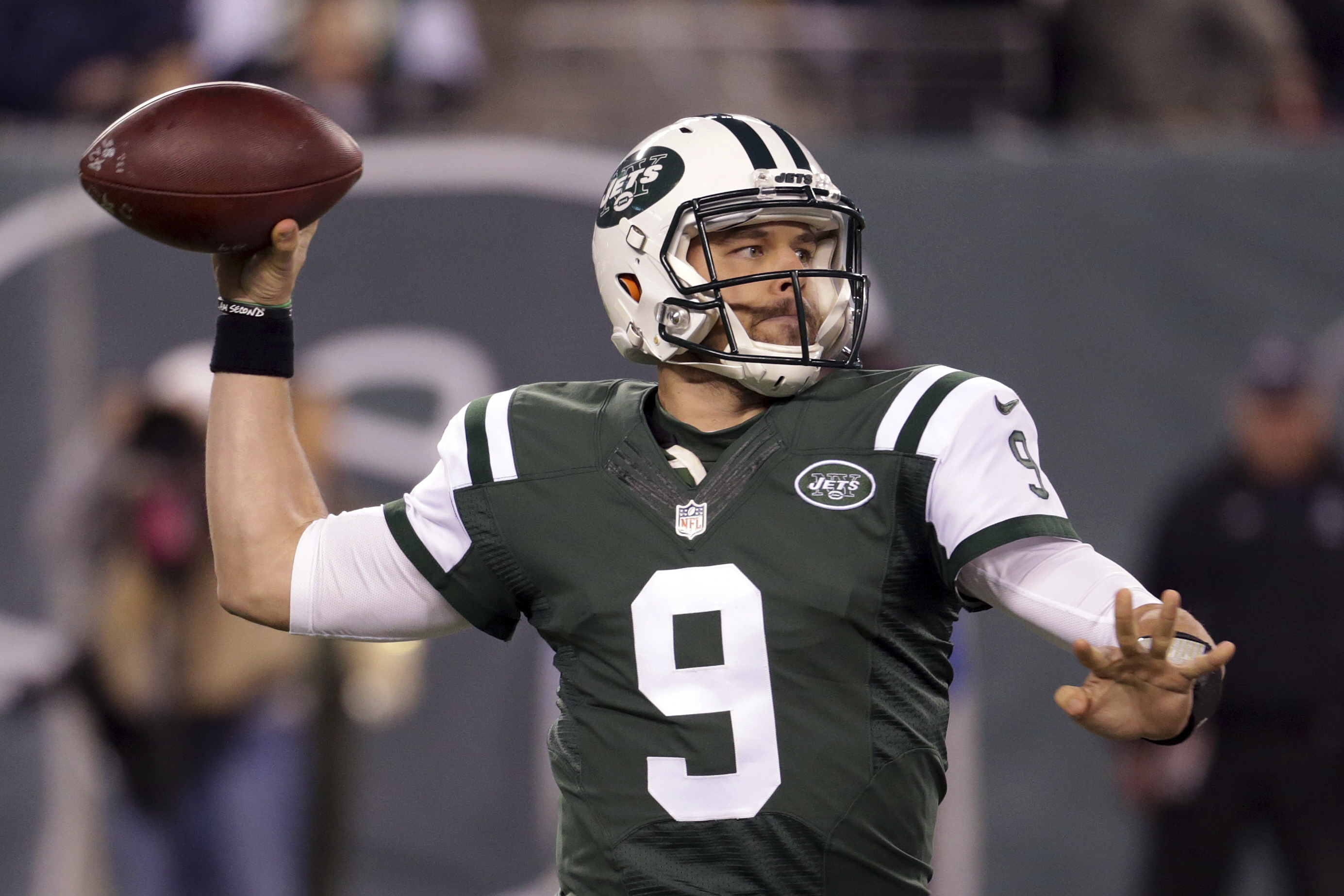 FILE - In this Monday, Dec. 5, 2016 file photo, New York Jets quarterback Bryce Petty looks to pass against the Indianapolis Colts during the second half of an NFL football game in East Rutherford, N.J. Bryce Petty went from roster bubble to starting quar