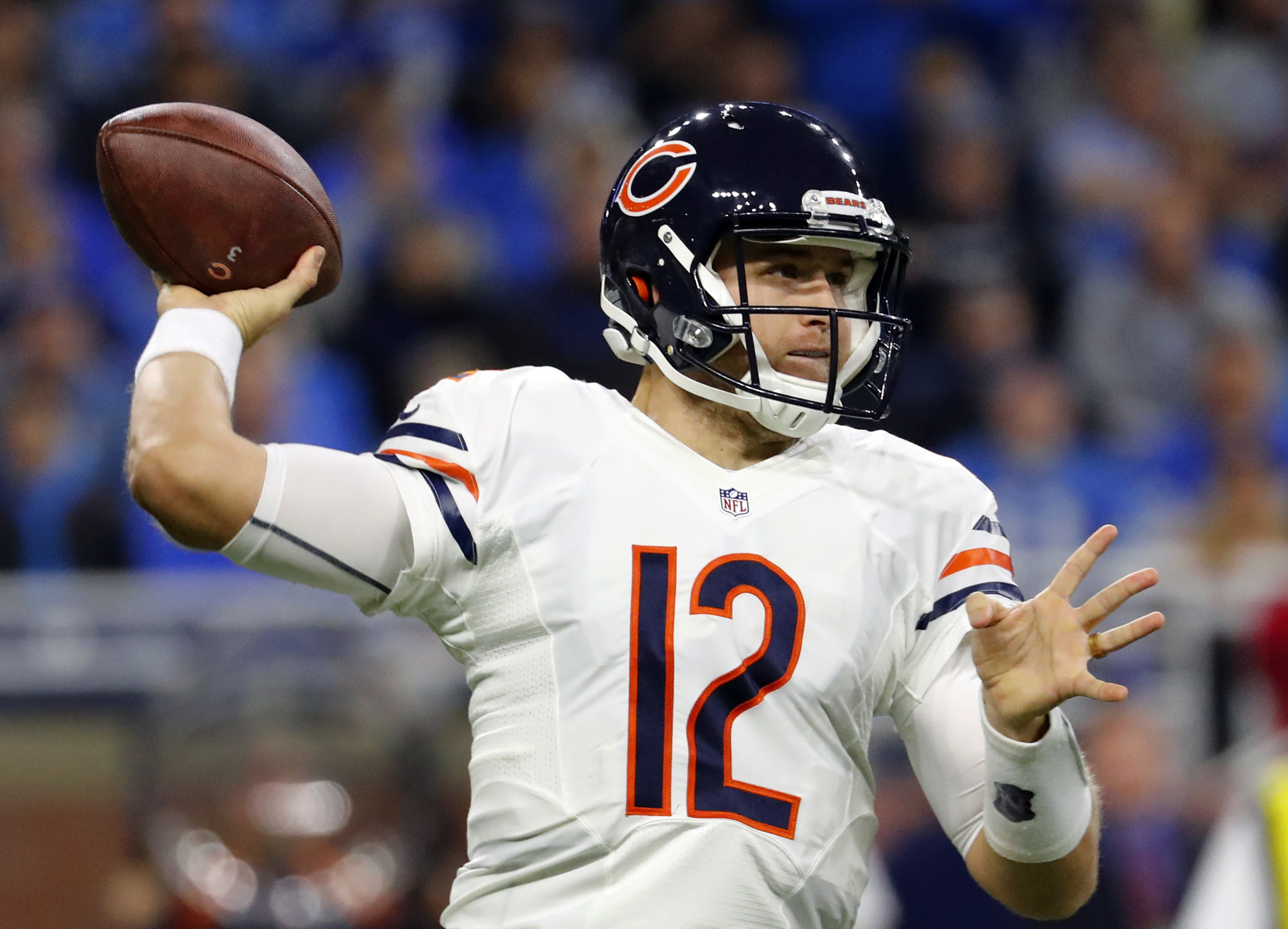 Chicago Bears quarterback Matt Barkley (12) throws against the Detroit Lions in the first half of an NFL football game in Detroit, Sunday, Dec. 11, 2016. (AP Photo/Rick Osentoski)