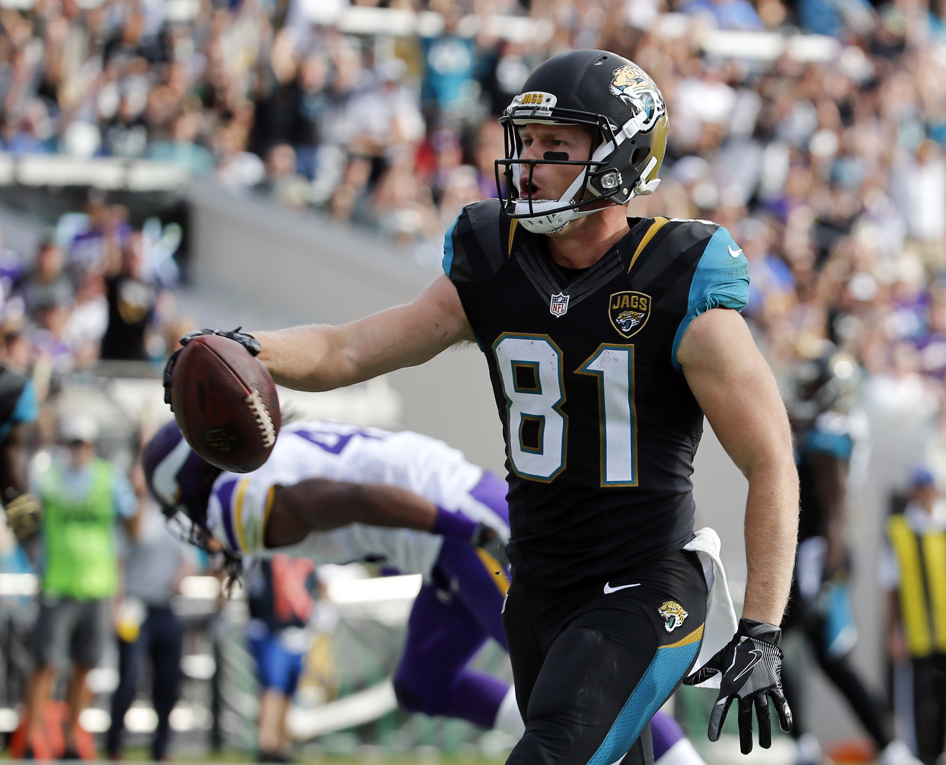 Jacksonville Jaguars wide receiver Bryan Walters celebrates his 14-yard touchdown on a pass play against the Minnesota Vikings during the second half of an NFL football game, Sunday, Dec. 11, 2016, in Jacksonville, Fla. (AP Photo/Stephen B. Morton)