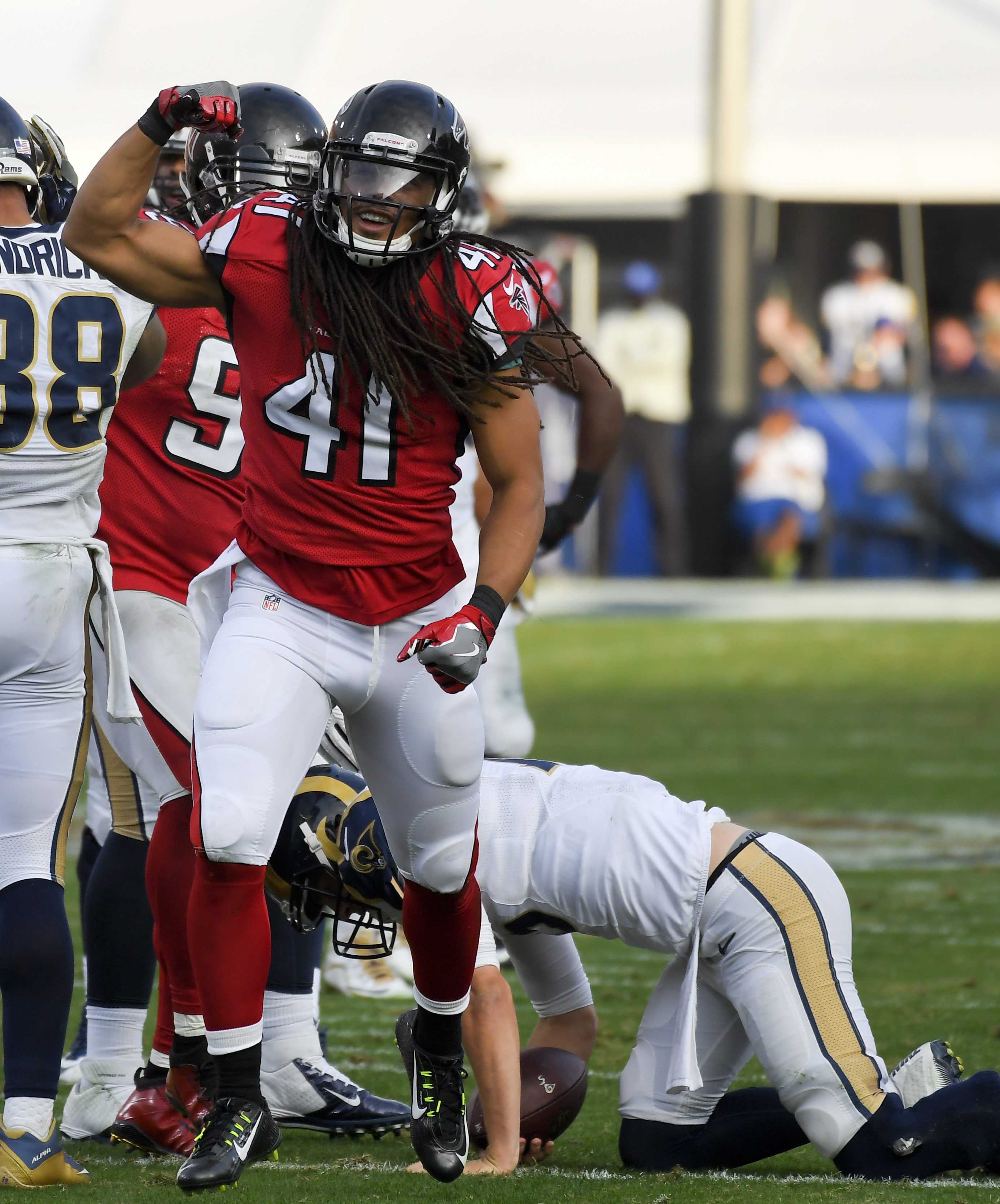 Atlanta Falcons outside linebacker Philip Wheeler celebrates after sacking Los Angeles Rams quarterback Jared Goff during the second half of an NFL football game Sunday, Dec. 11, 2016, in Los Angeles. (AP Photo/Mark J. Terrill)