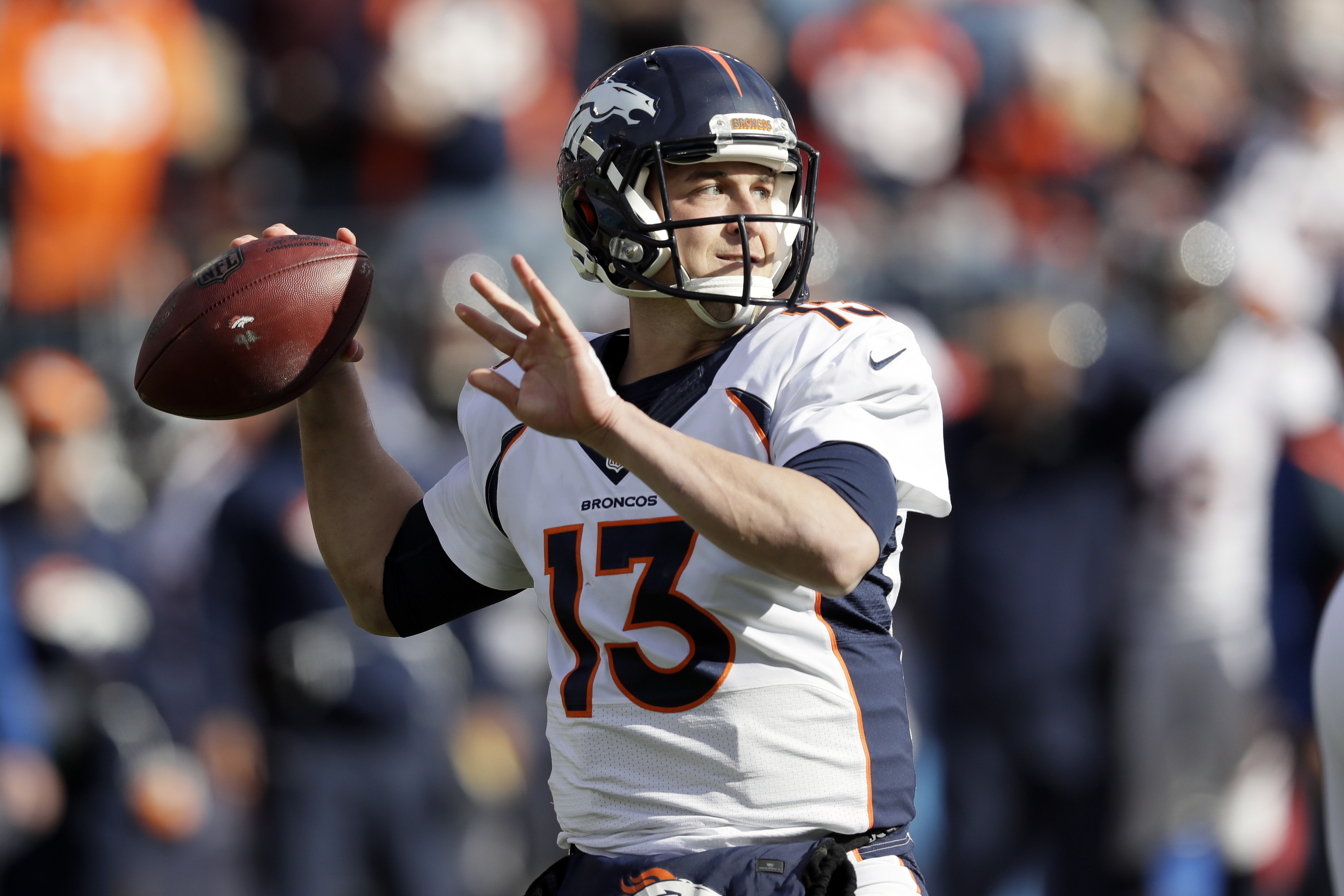 FILE - In this Dec. 11, 2016, file photo, Denver Broncos quarterback Trevor Siemian passes against the Tennessee Titans in the first half of an NFL football game, in Nashville, Tenn. Brady-Siemian. It doesn't have the same ring to it as Brady-Manning. Sti