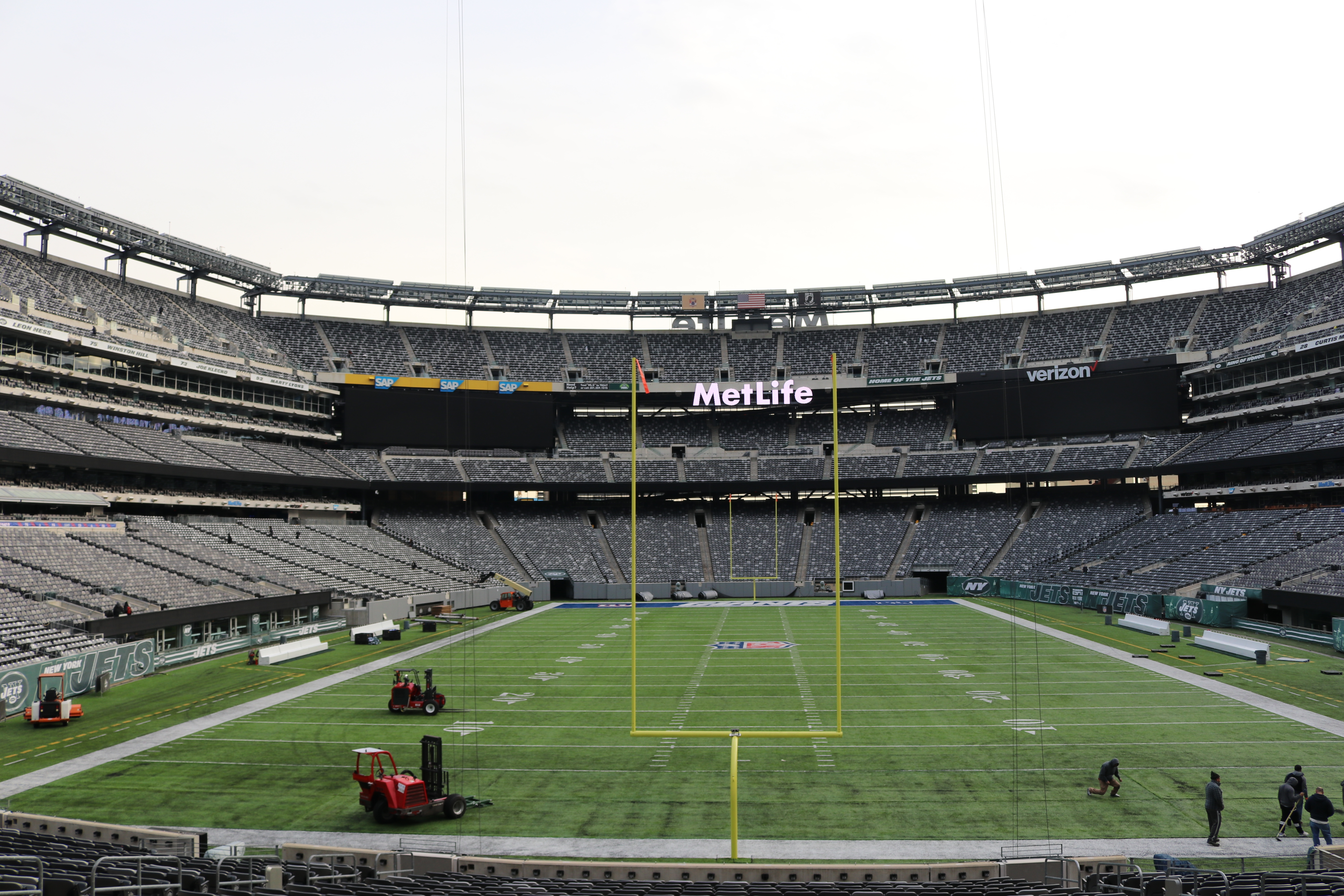 This photo provided by MetLife Stadium shows the field at MetLife Stadium in East Rutherford, N.J. With the New York Jets playing a Saturday night game and the Giants kicking off early Sunday afternoon, MetLife Stadium will go with an interesting look for