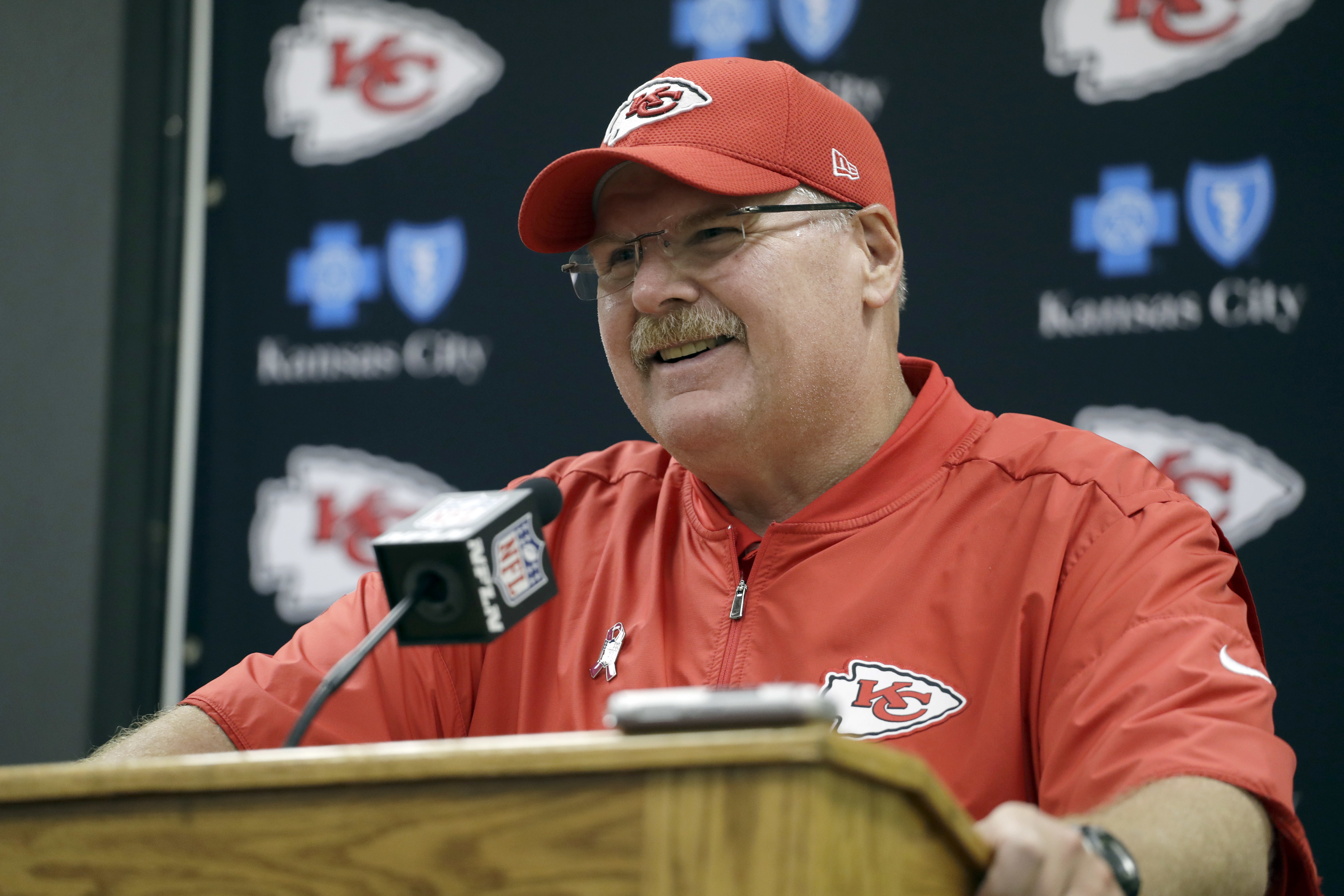 FILE - In this Oct. 23, 2016, file photo, Kansas City Chiefs head coach Andy Reid speaks during a news conference following an NFL football game against the New Orleans Saints, in Kansas City. Andy Reid has been around long enough to know that focusing on