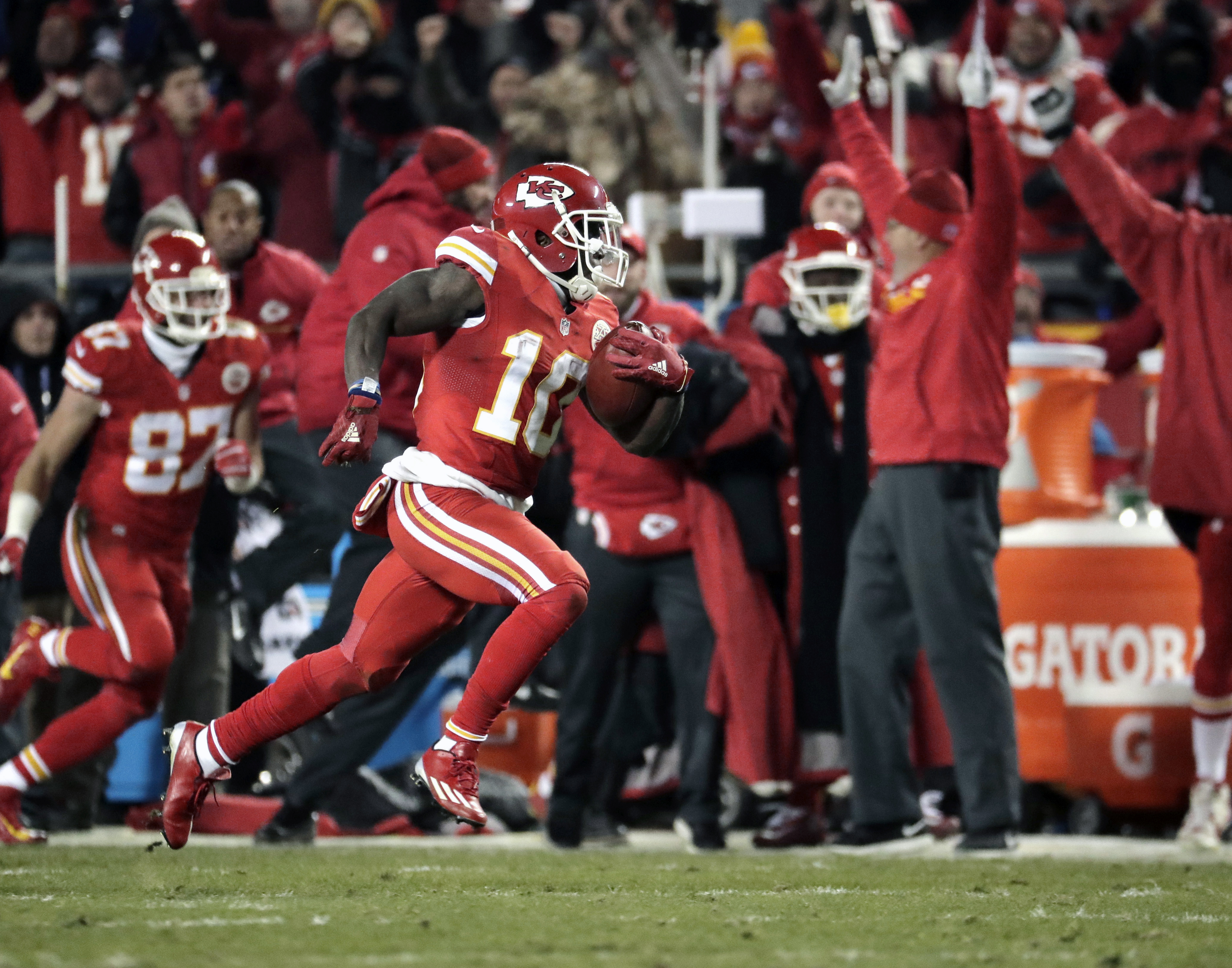 FILE - In this Dec. 8, 2016, file photo, Kansas City Chiefs wide receiver Tyreek Hill (10) returns a kickoff ball for a touchdown during the first half of an NFL football game against the Oakland Raiders in Kansas City, Mo. After watching Kansas City Chie