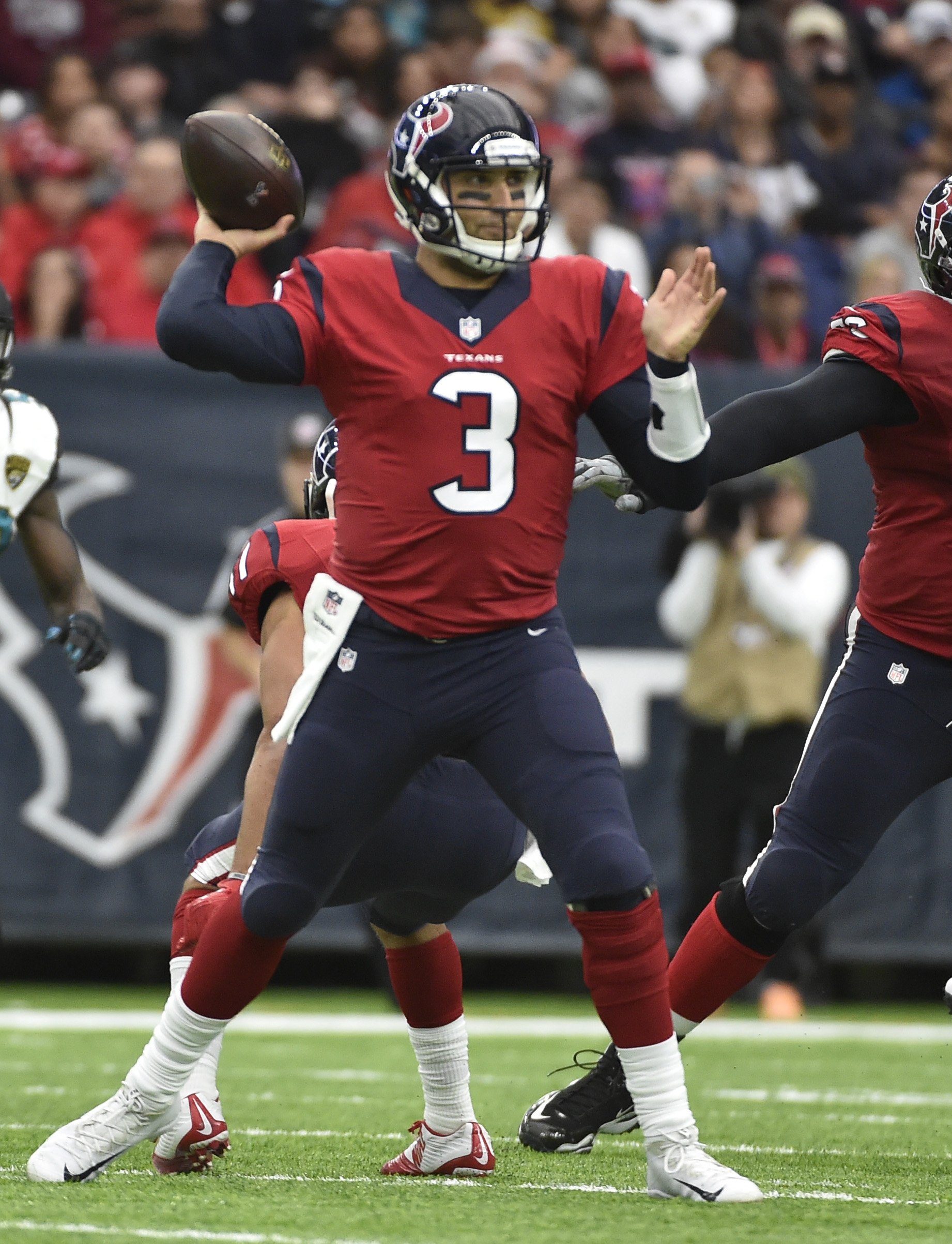 Houston Texans quarterback Tom Savage (3) passes against the Jacksonville Jaguars after starter Brock Osweiler was pulled during the first half of an NFL football game Sunday, Dec. 18, 2016, in Houston. (AP Photo/Eric Christian Smith)