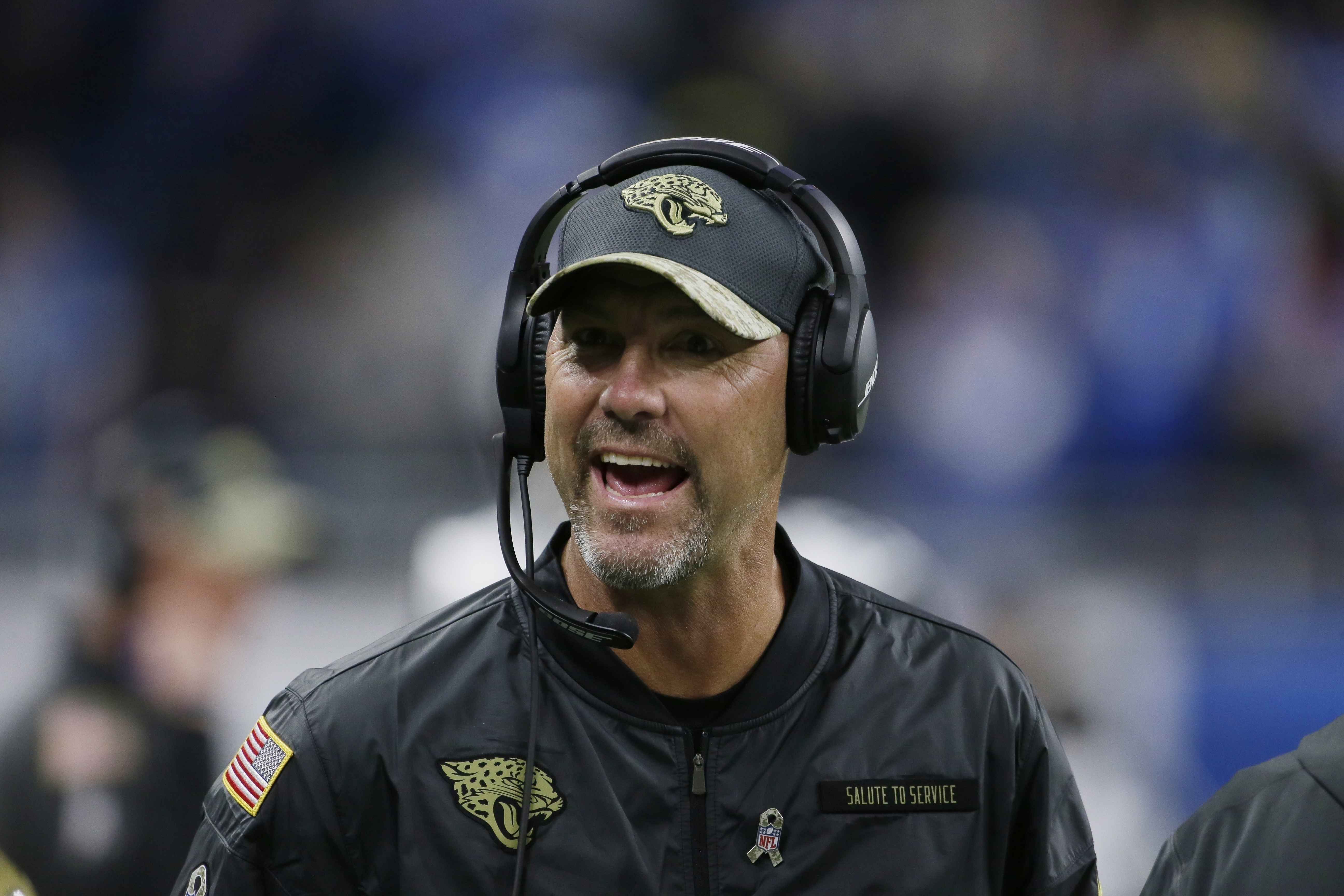 FILE - In this Nov. 20, 2016, file photo, Jacksonville Jaguars head coach Gus Bradley reacts in the bench area during the second half of an NFL football game against the Detroit Lions in Detroit. The Jaguars have fired Bradley, ending the least successful