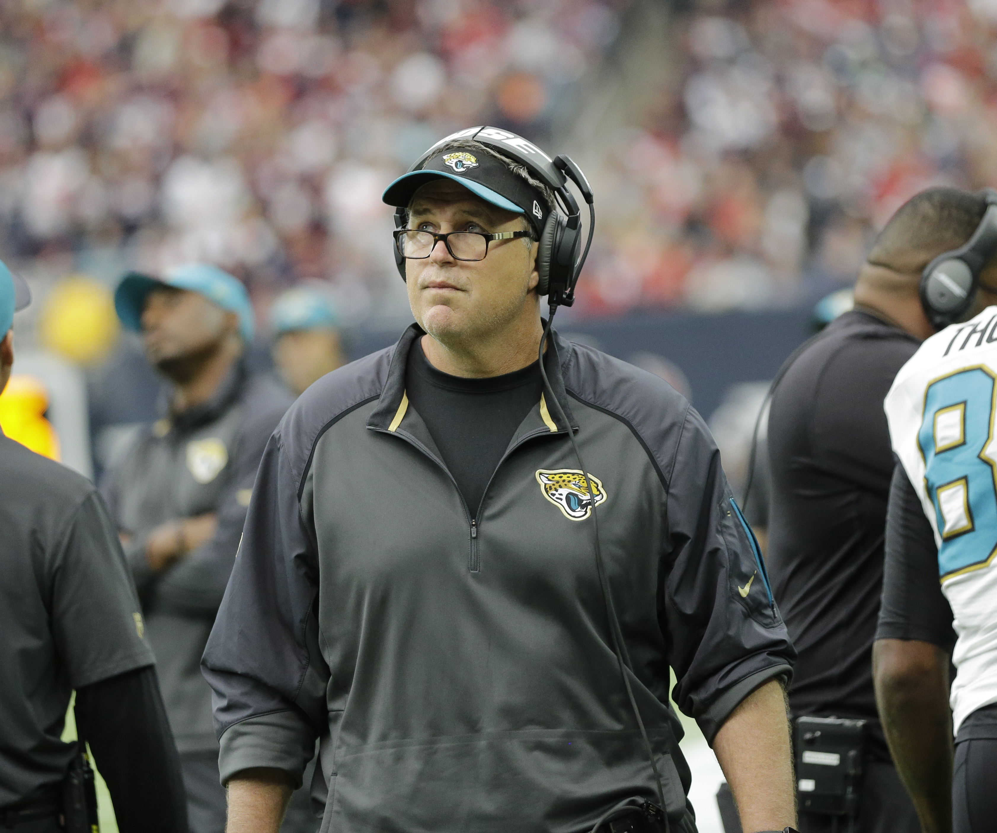 Jacksonville Jaguars assistant coach Doug Marrone is shown during the first half an NFL football game Sunday, Jan. 3, 2016, in Houston. (AP Photo/David J. Phillip)