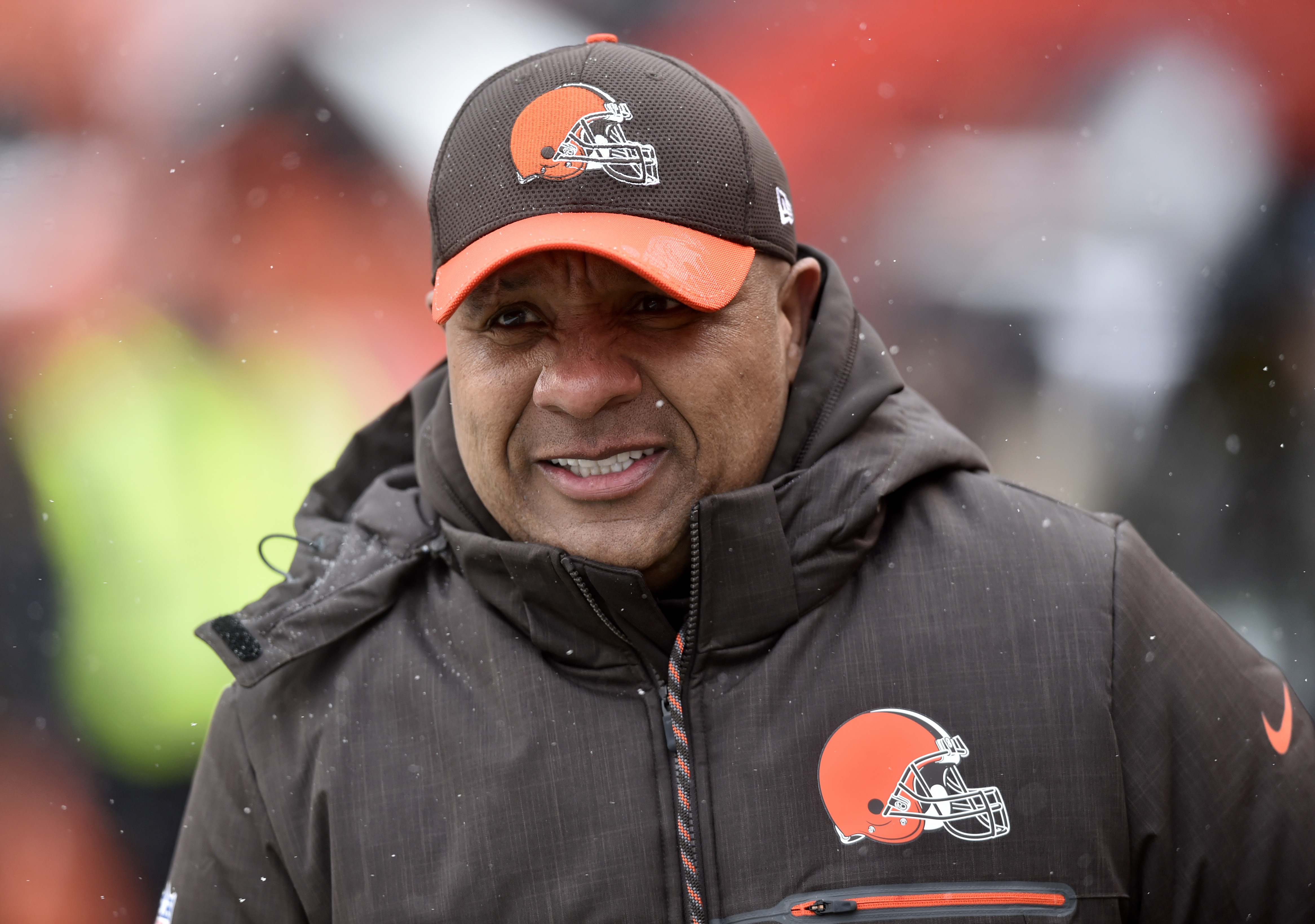 FILE - In this Sunday, Dec. 11, 2016 file photo, Cleveland Browns head coach Hue Jackson watches warm ups before an NFL football game against the Cincinnati Bengals in Cleveland. Browns coach Hue Jackson said hes not seen any quit in his players despite t