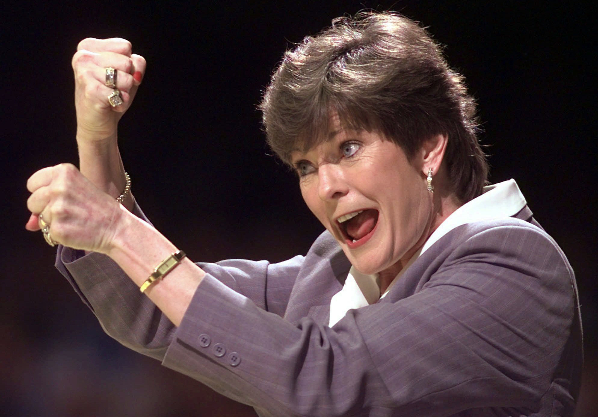 FILE - In this March 21, 1998, file photo, Tennessee coach Pat Summitt signals to her players in the second half of an NCAA college basketball game against Rutgers at the NCAA Women's Mideast Regional in Nashville, Tenn. Her stare could crack steel. Her a