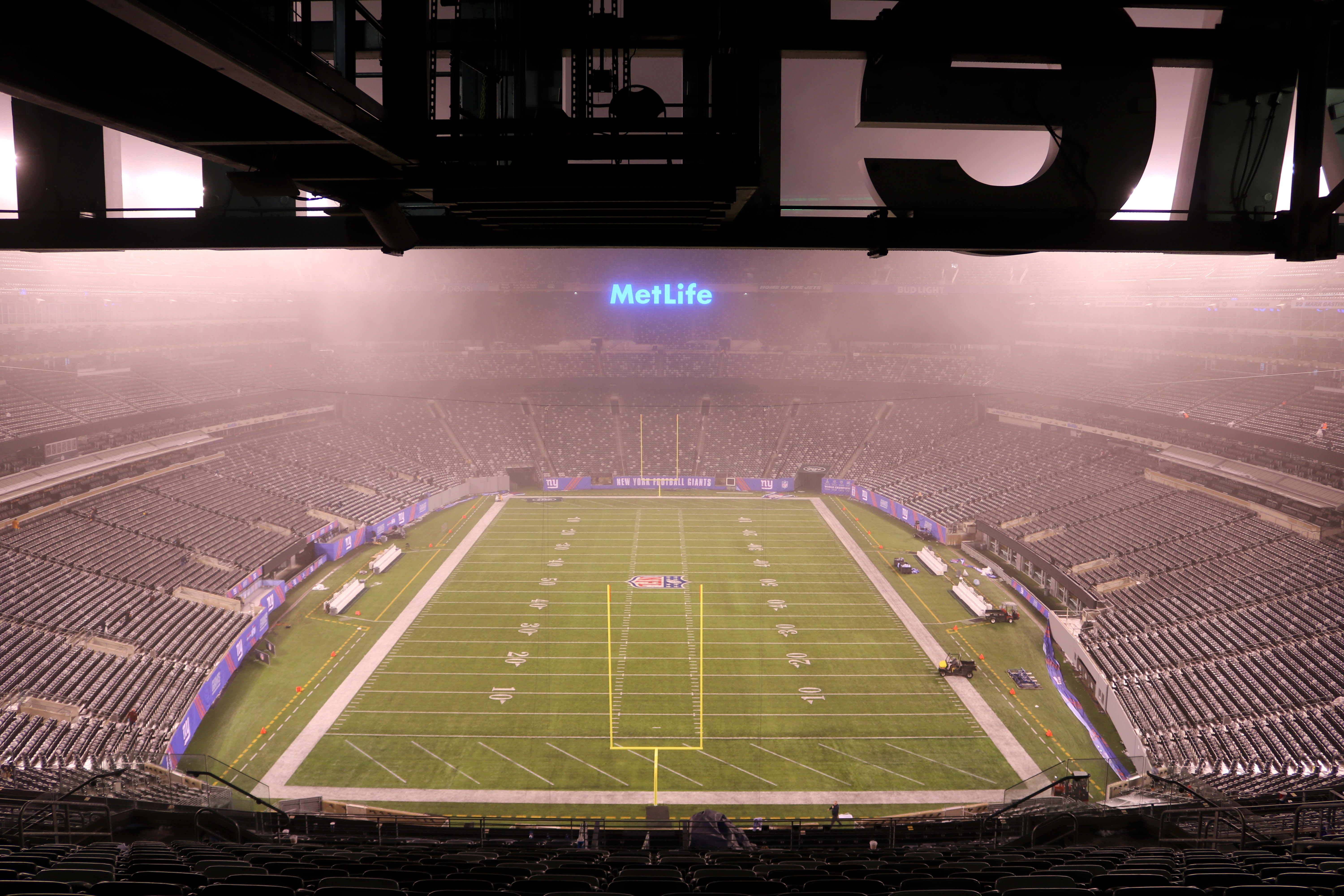 This Sunday, Dec. 18, 2016 photo provided by MetLife Stadium shows the field at MetLife Stadium in East Rutherford, N.J. The biggest challenges at the New Jersey Meadowlands last weekend probably didn't belong to the Giants and Jets. Instead, it was the f